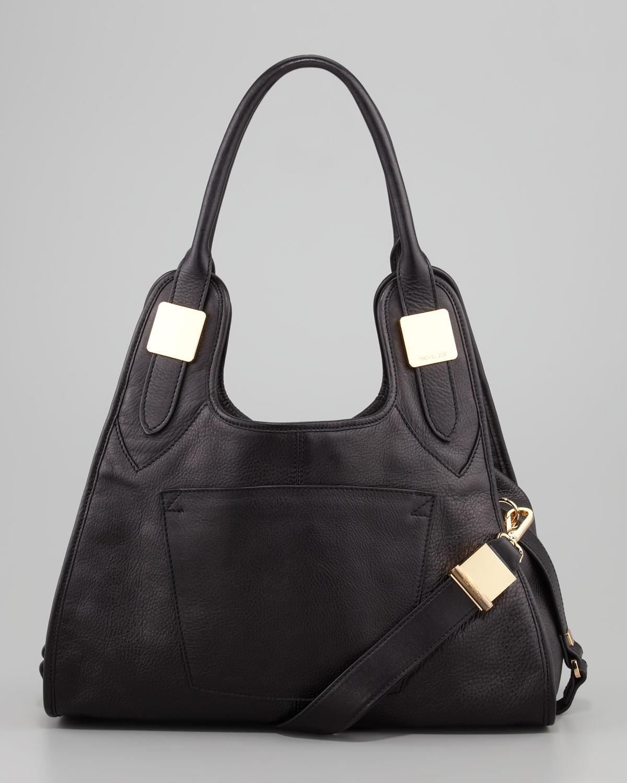 Rachel zoe Lucas Small Leather Hobo Bag Black in Black | Lyst