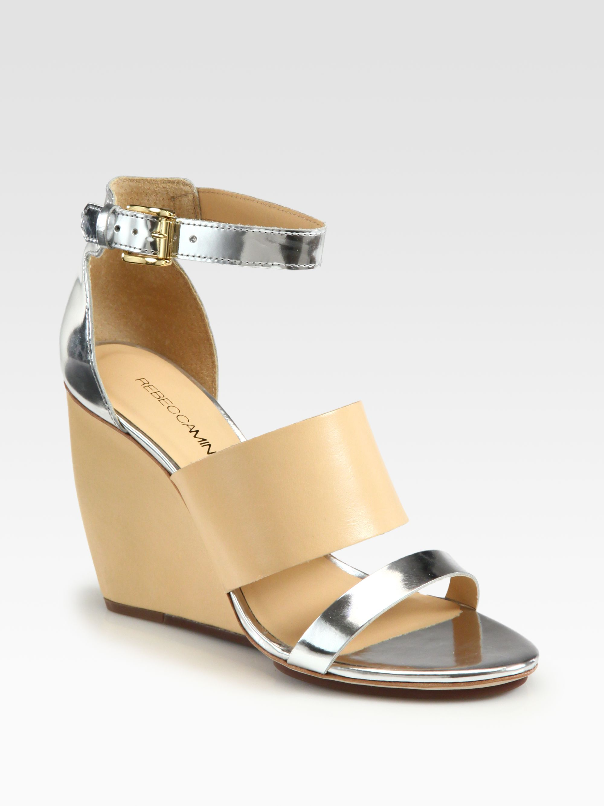 Rebecca Minkoff Stella Leather Wedge Sandals In Silver