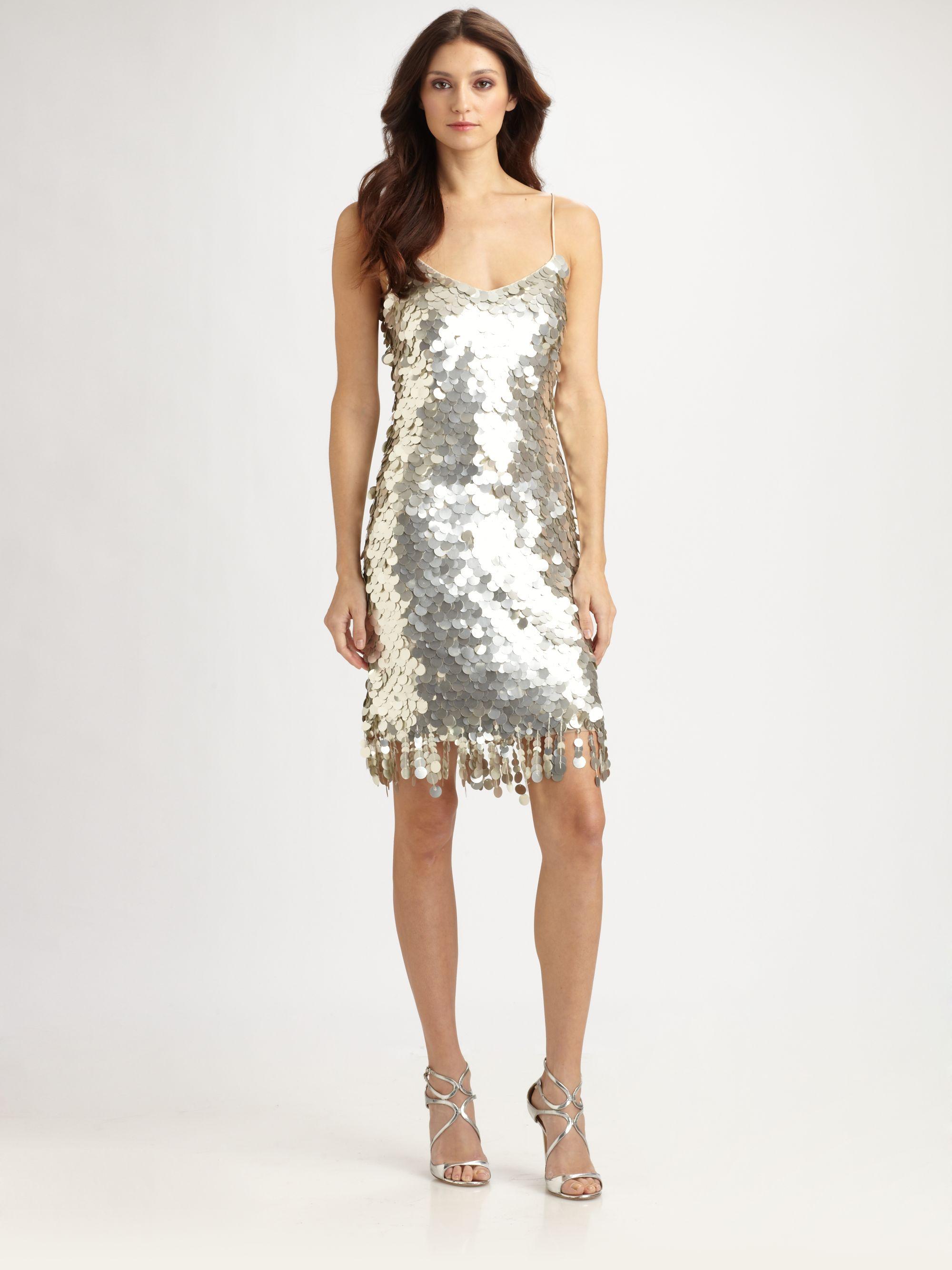 theia pailette fringe dress in silver lyst
