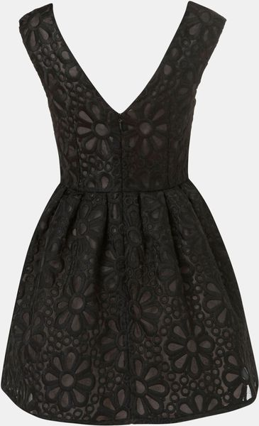 Topshop Embroidered Organza Party Dress In Black Lyst