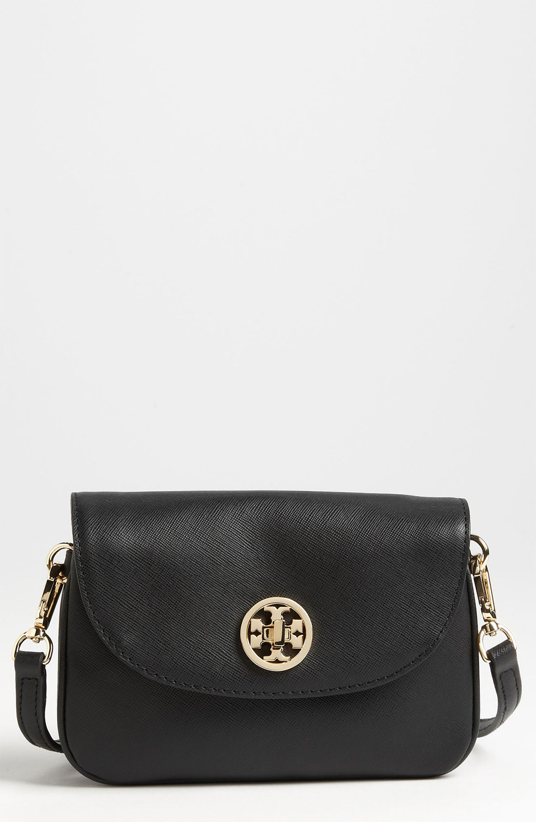 tory burch robinson leather crossbody bag in black