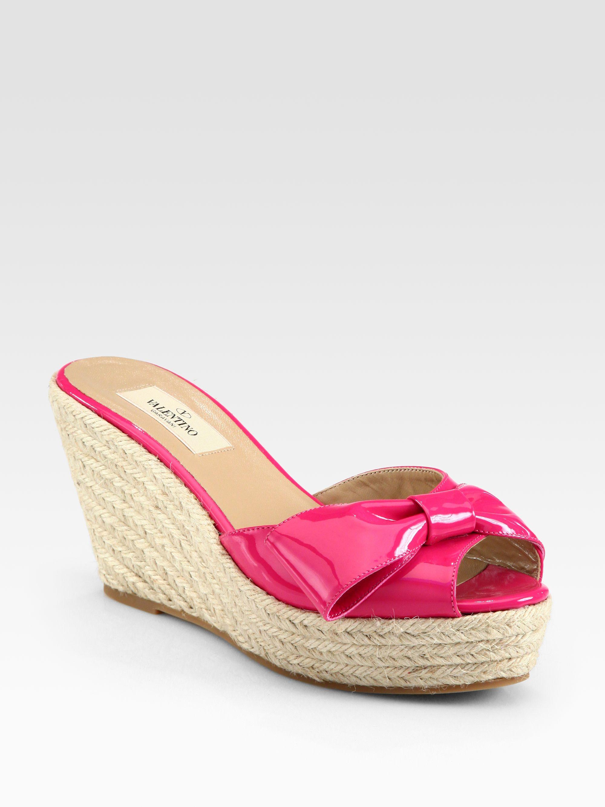 6fa428ffb4e Valentino Pink Mena Patent Leather Bow Espadrille Wedges