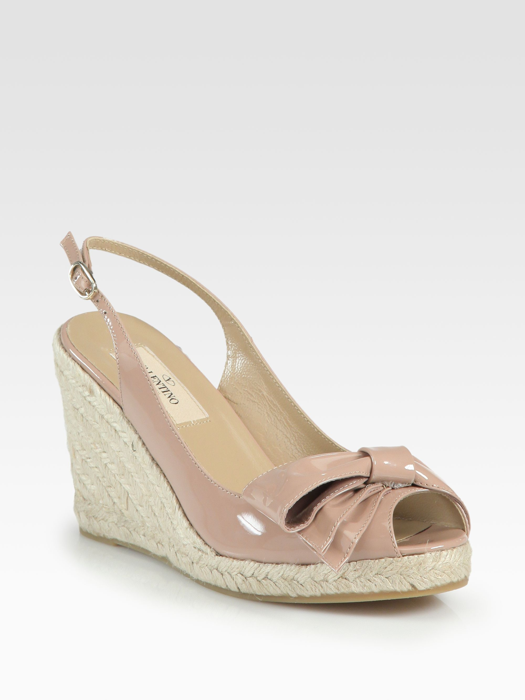 valentino patent leather espadrille wedge sandals in pink