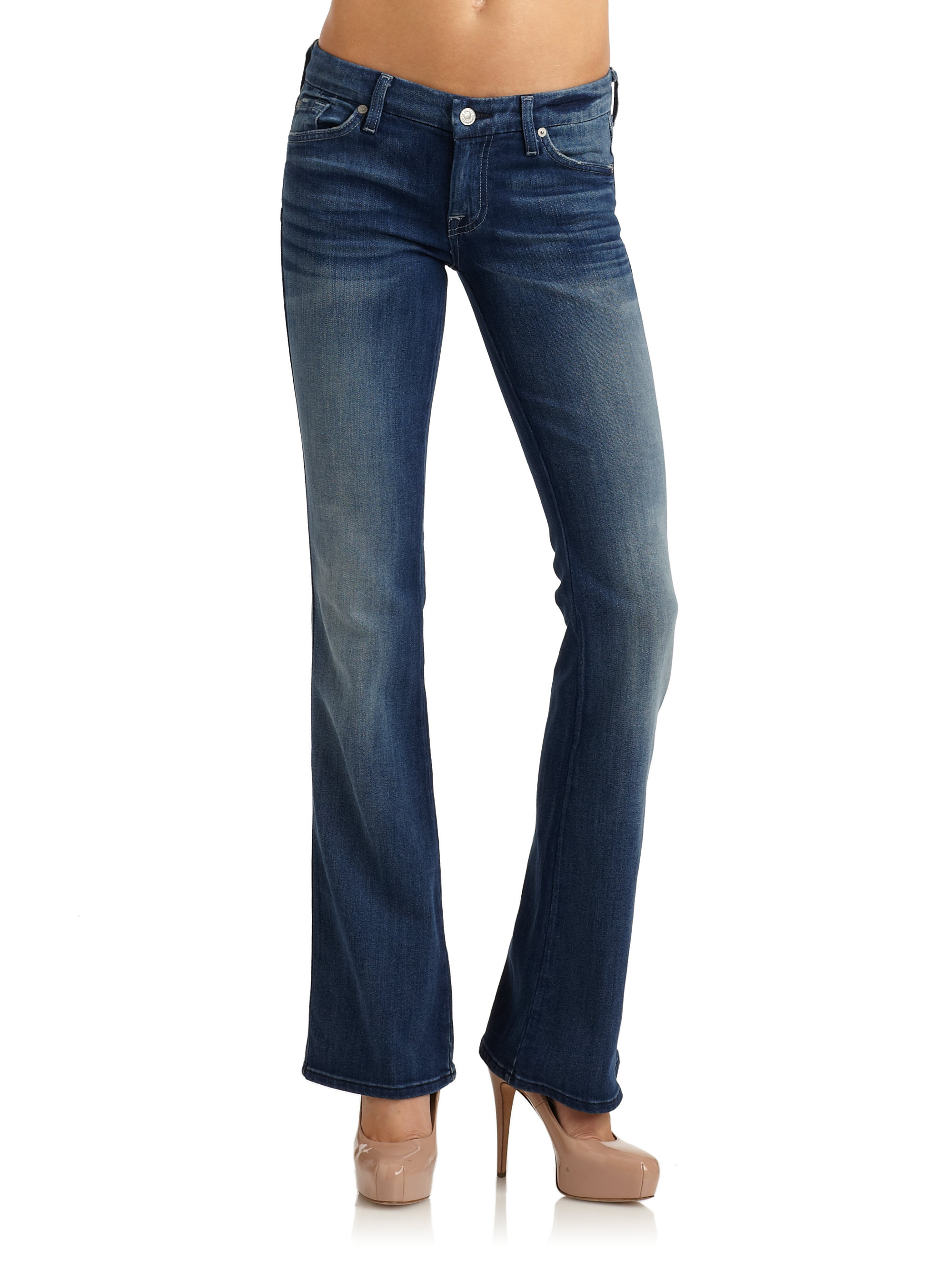 7 for all mankind a pocket flare leg jeans in blue lyst. Black Bedroom Furniture Sets. Home Design Ideas