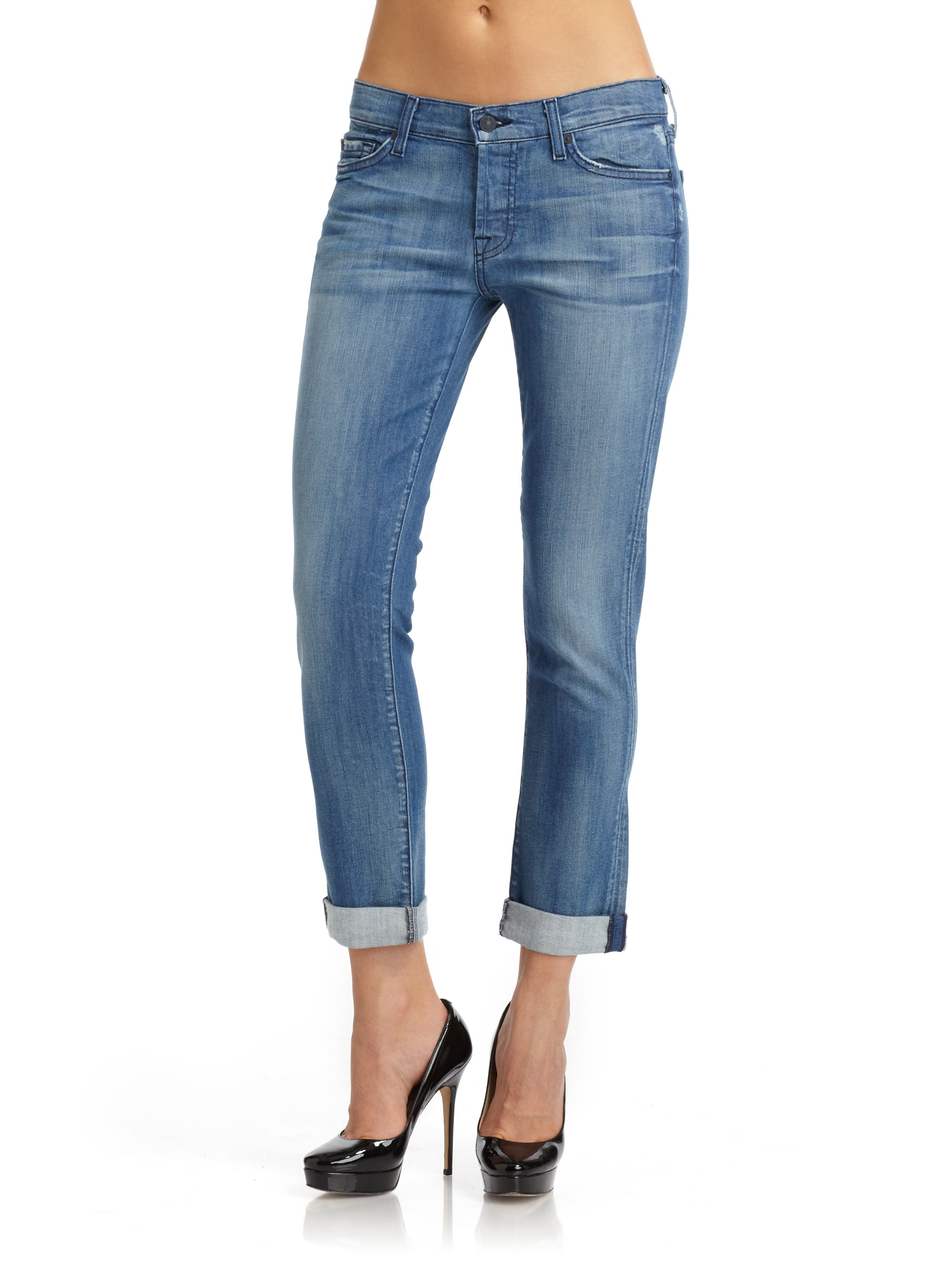for all mankind distressed josephina skinny boyfriend jeans in blue. Black Bedroom Furniture Sets. Home Design Ideas