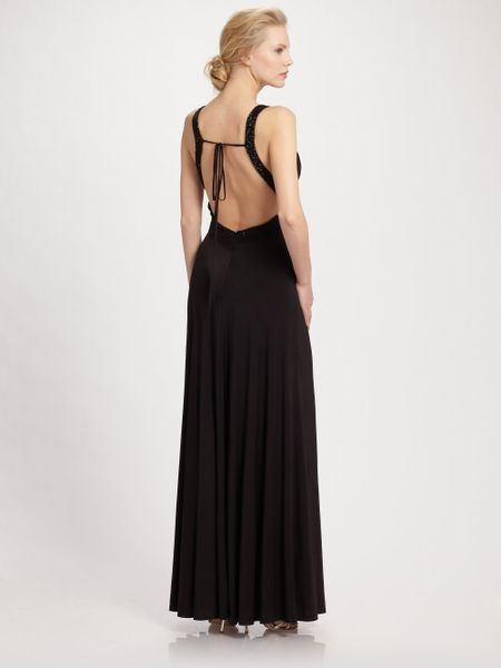 Aidan Mattox Cowlneck Jersey Gownblack in Black