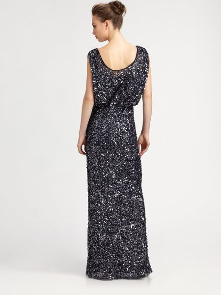 Snap Aidan mattox Sequin Embellished Chiffon Gown in Blue navy Lyst ...