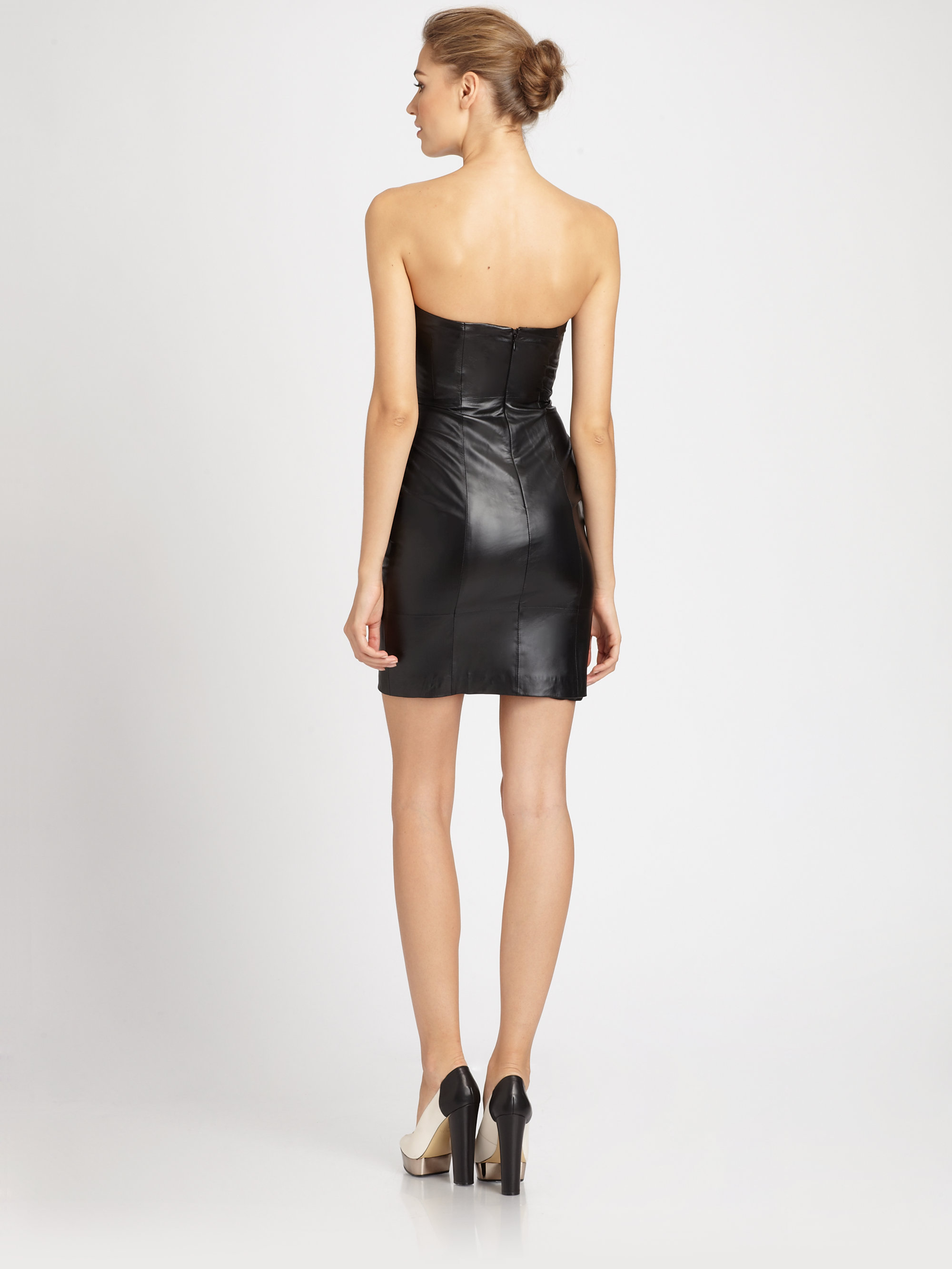 Badgley mischka Strapless Leather Dress in Black  Lyst
