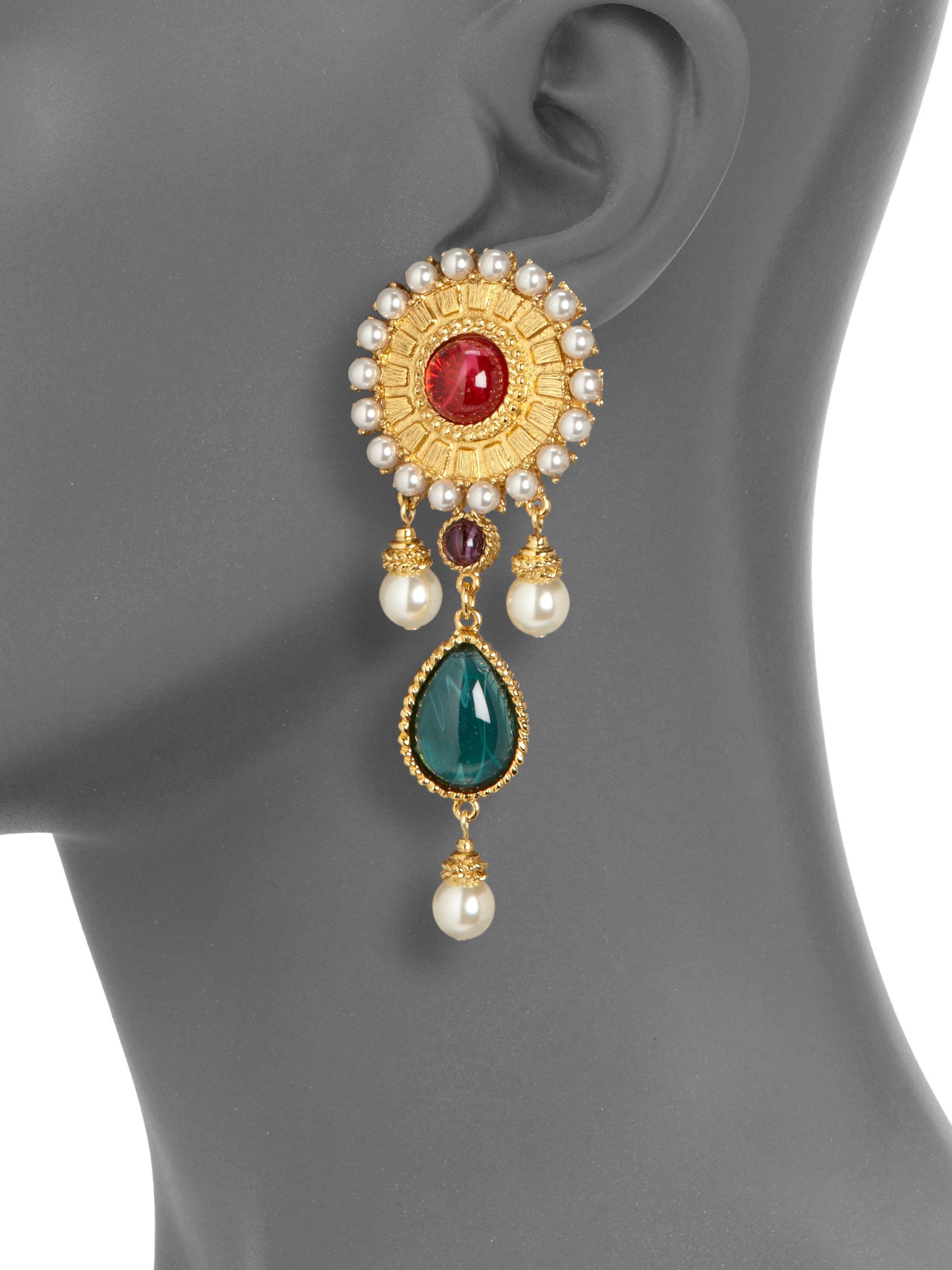 Ben Amun Byzantine Drop Earrings In Gold Red Lyst