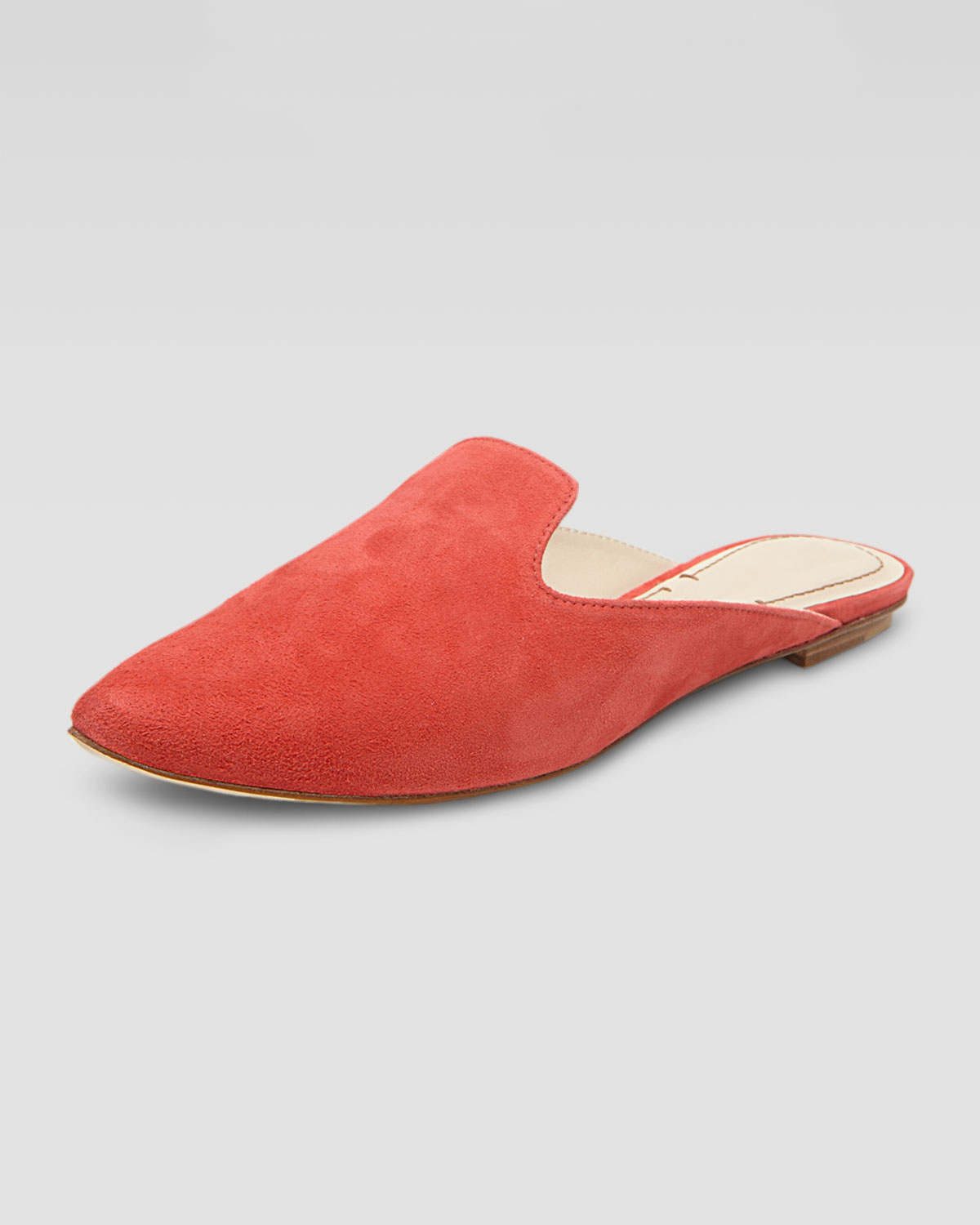 Elizabeth And James Womens Marti Suede Flat Mule Coral In