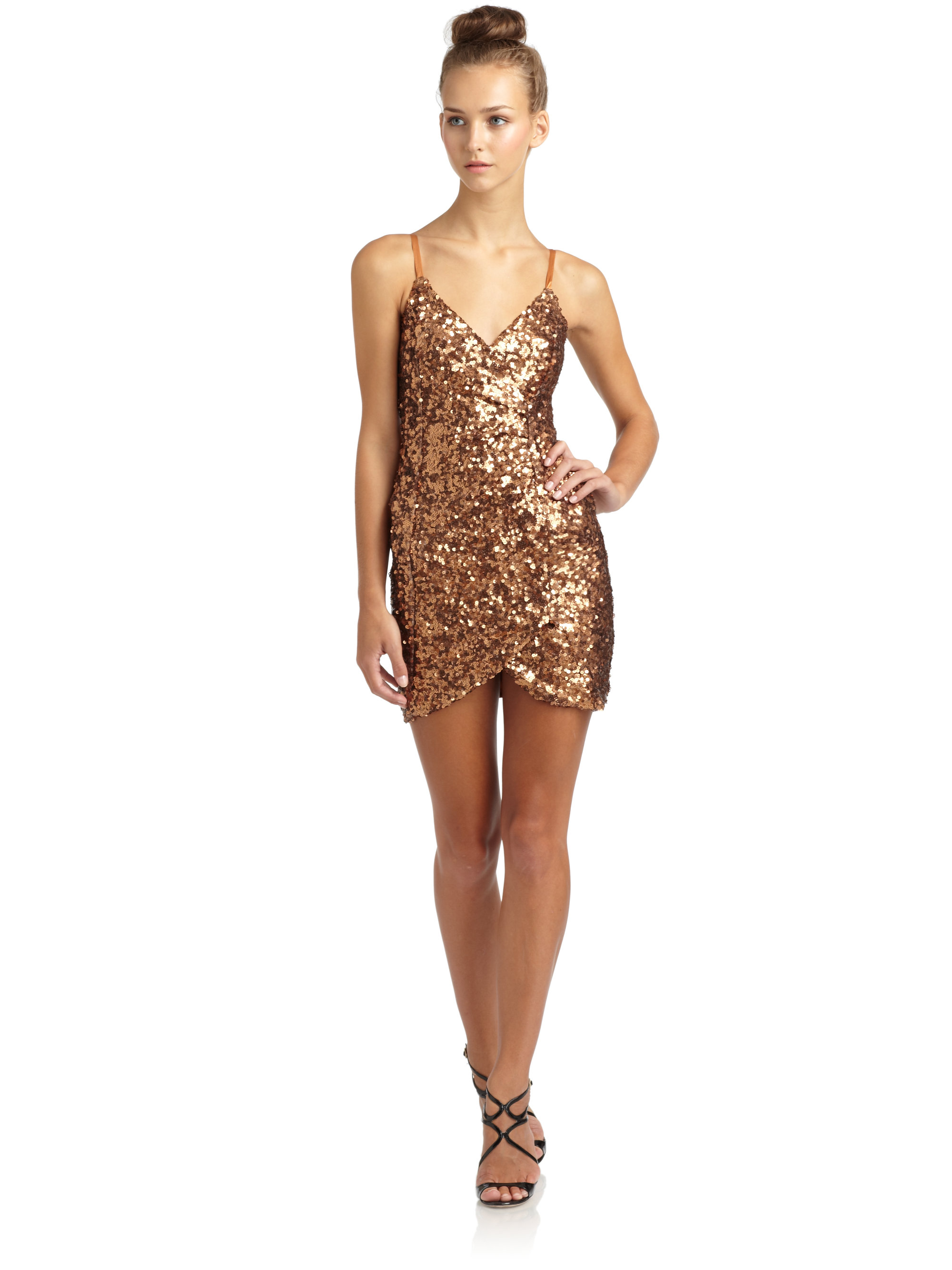 French connection Dress Shirley Sequins in Metallic - Lyst