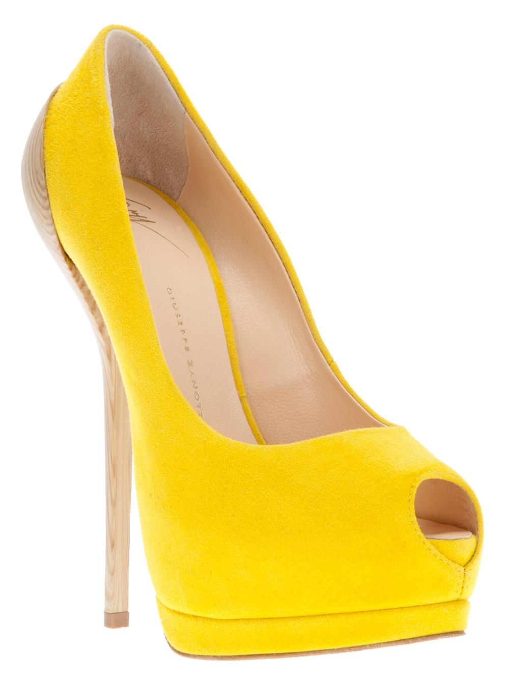 Open Toe Yellow Heels