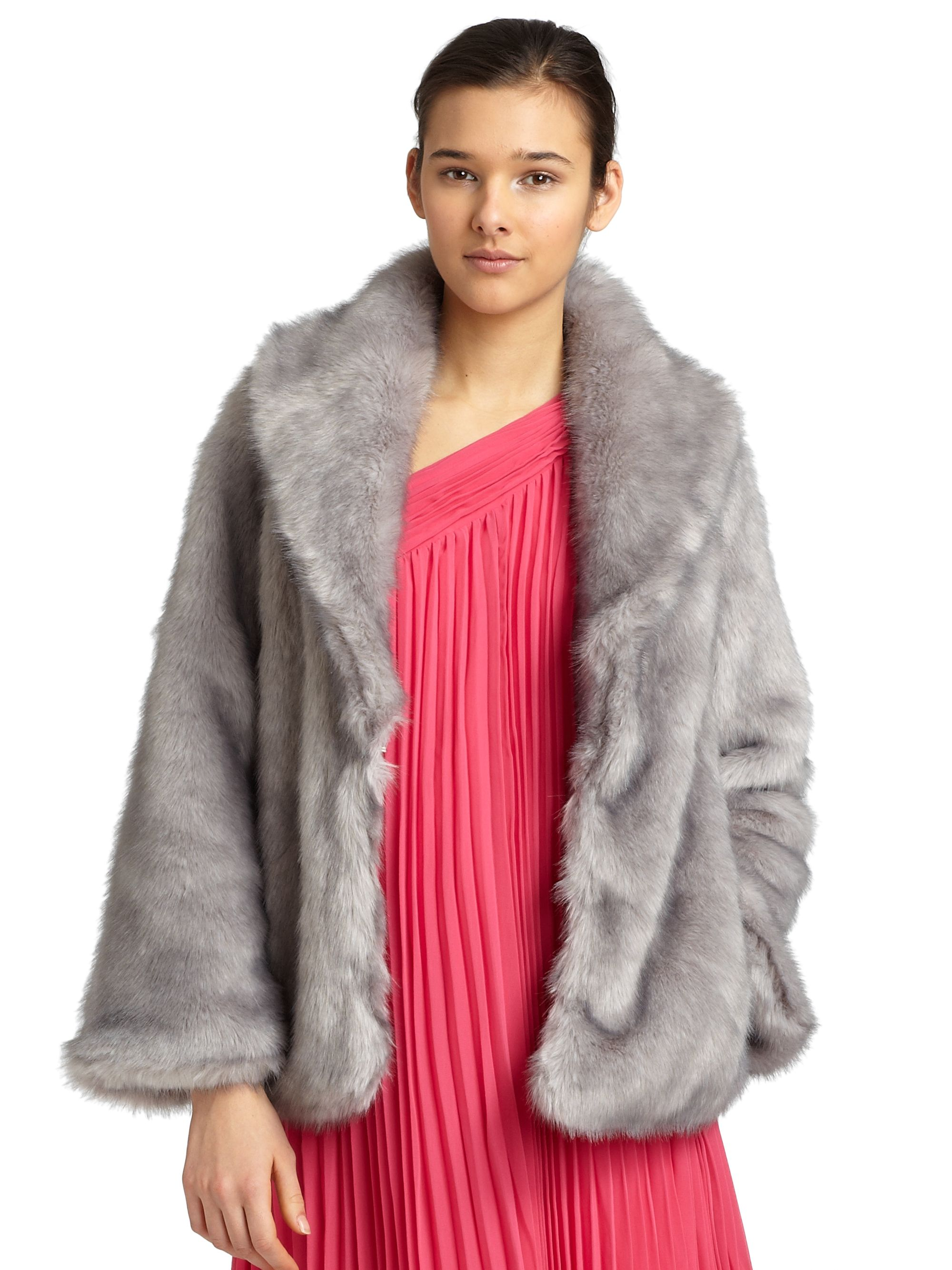 Halston Faux Fur Coat in Gray | Lyst
