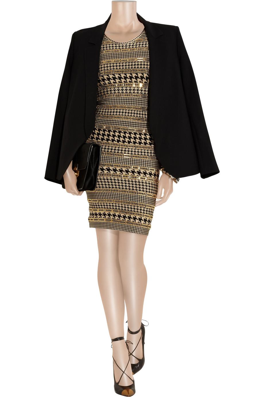 Herv 233 L 233 Ger Embellished Houndstooth Bandage Dress In Gold