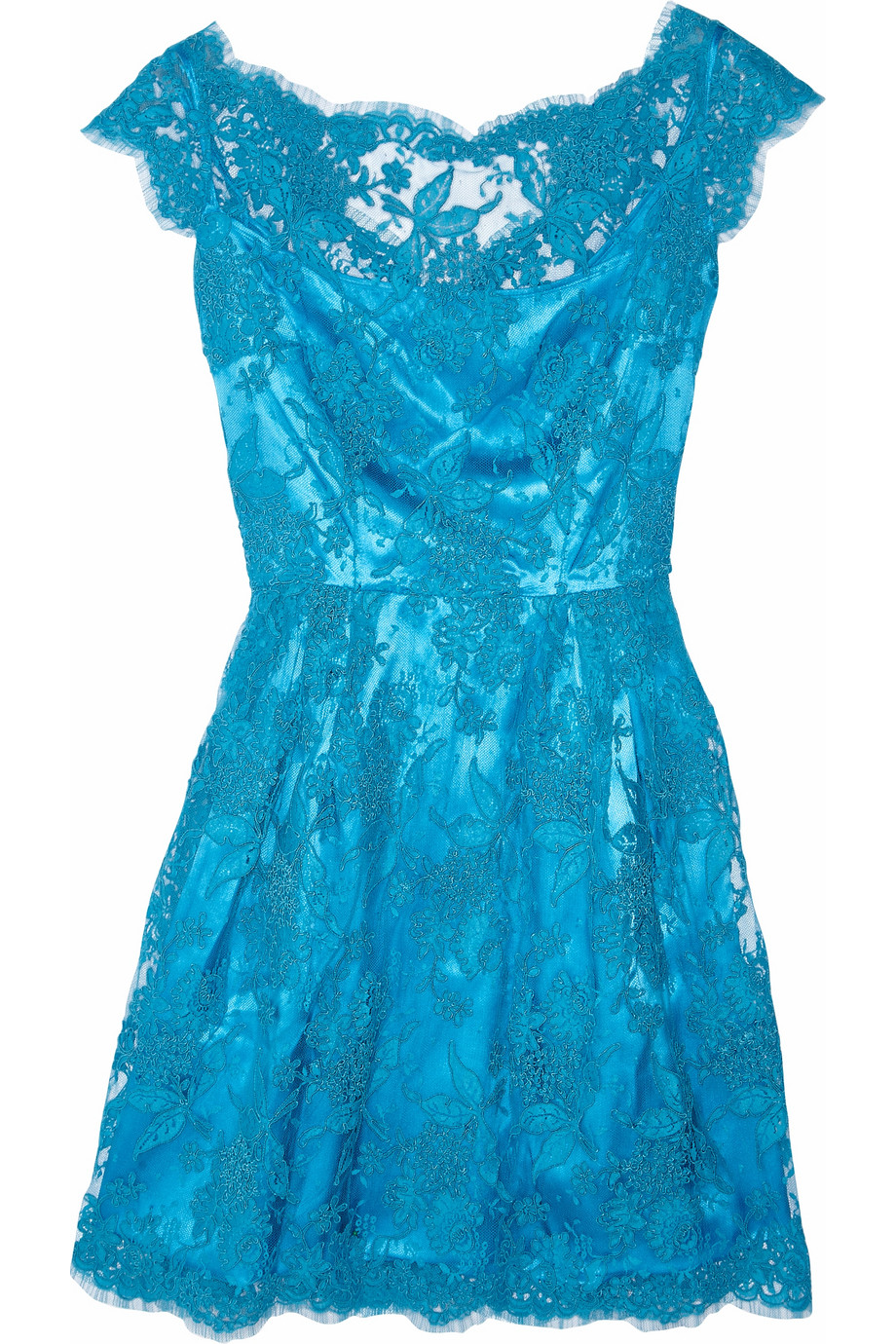 Issa Silk Satin And Lace Dress In Turquoise Blue Lyst