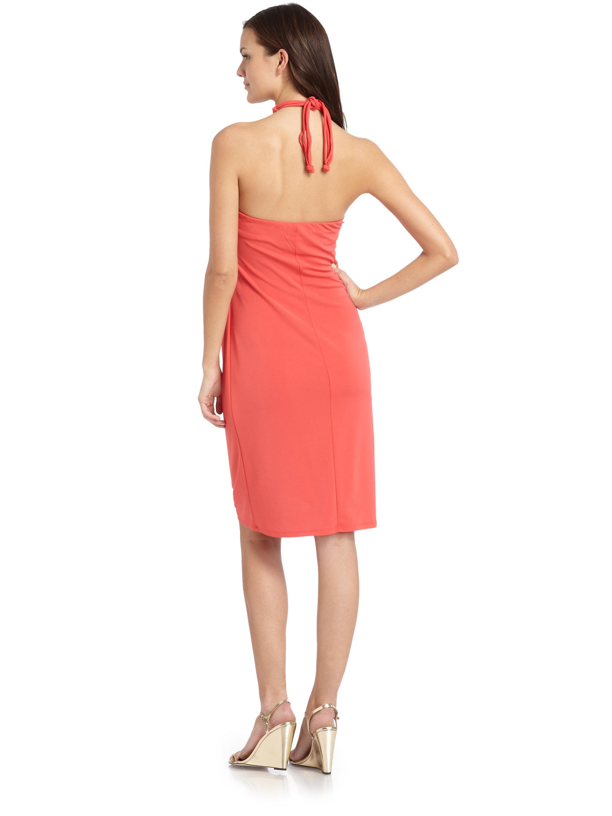 Josie natori matte jersey necklace halter dress in orange for Jewelry to wear with coral dress