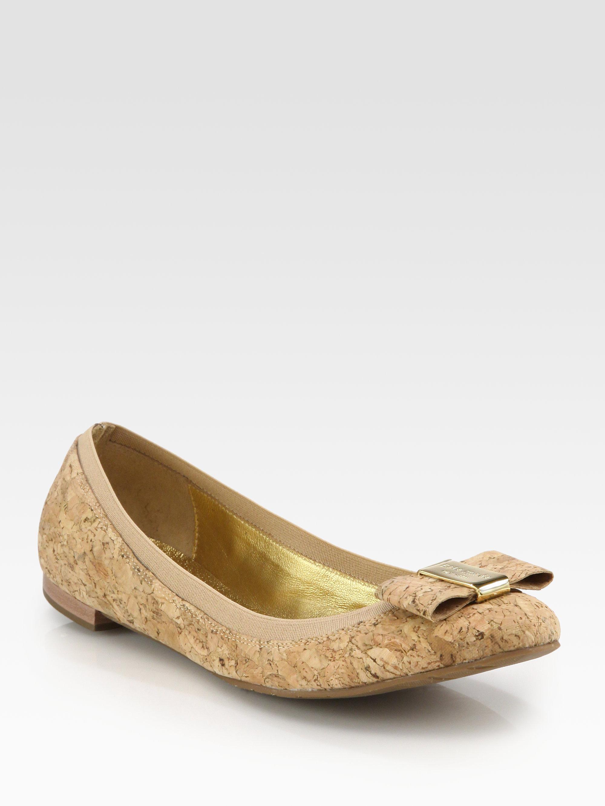 5ac671c89ed1 Lyst - Kate Spade Tock Cork Bow Ballet Flats in Metallic