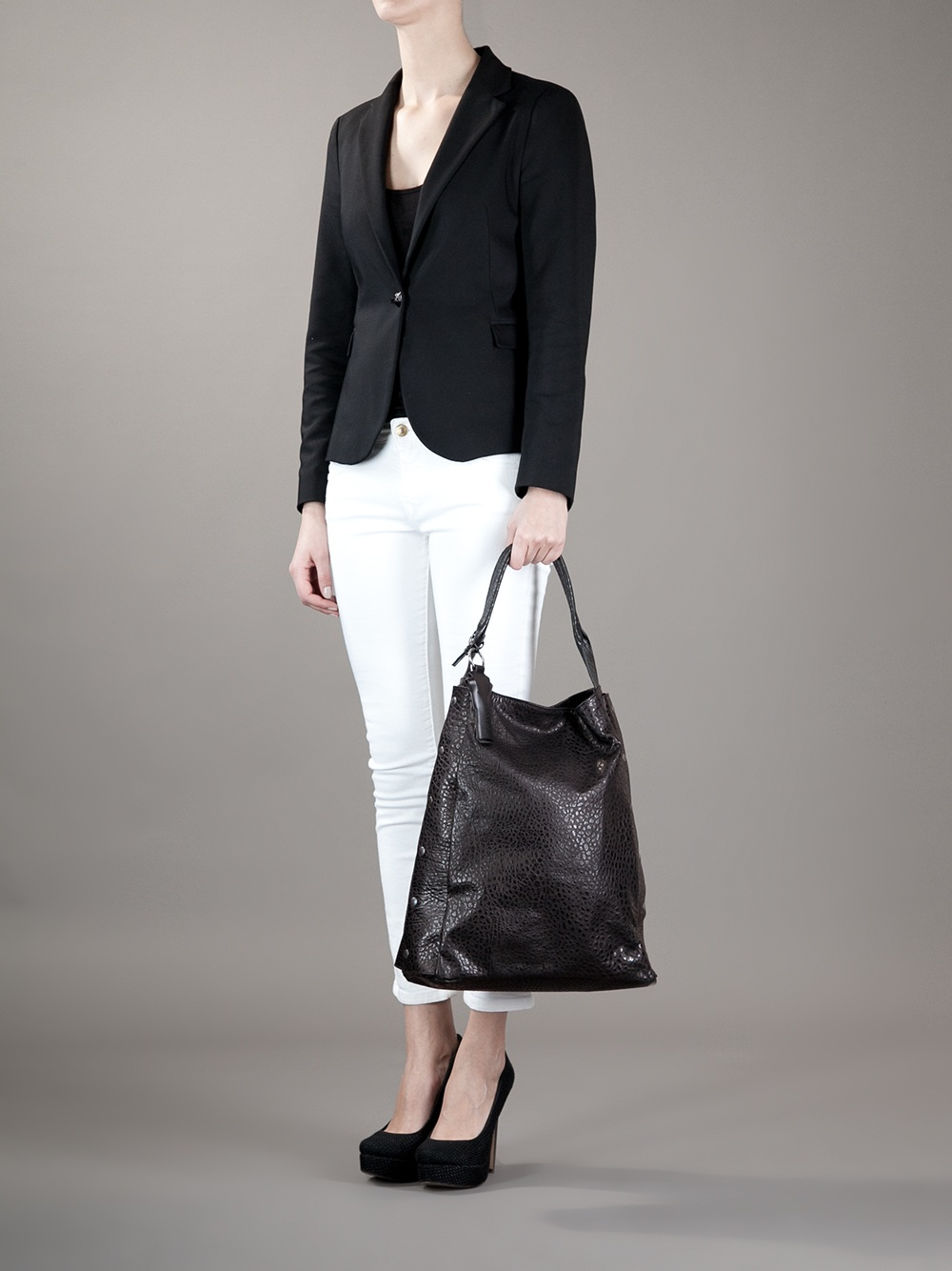 Malloni Large Slouchy Tote in Black