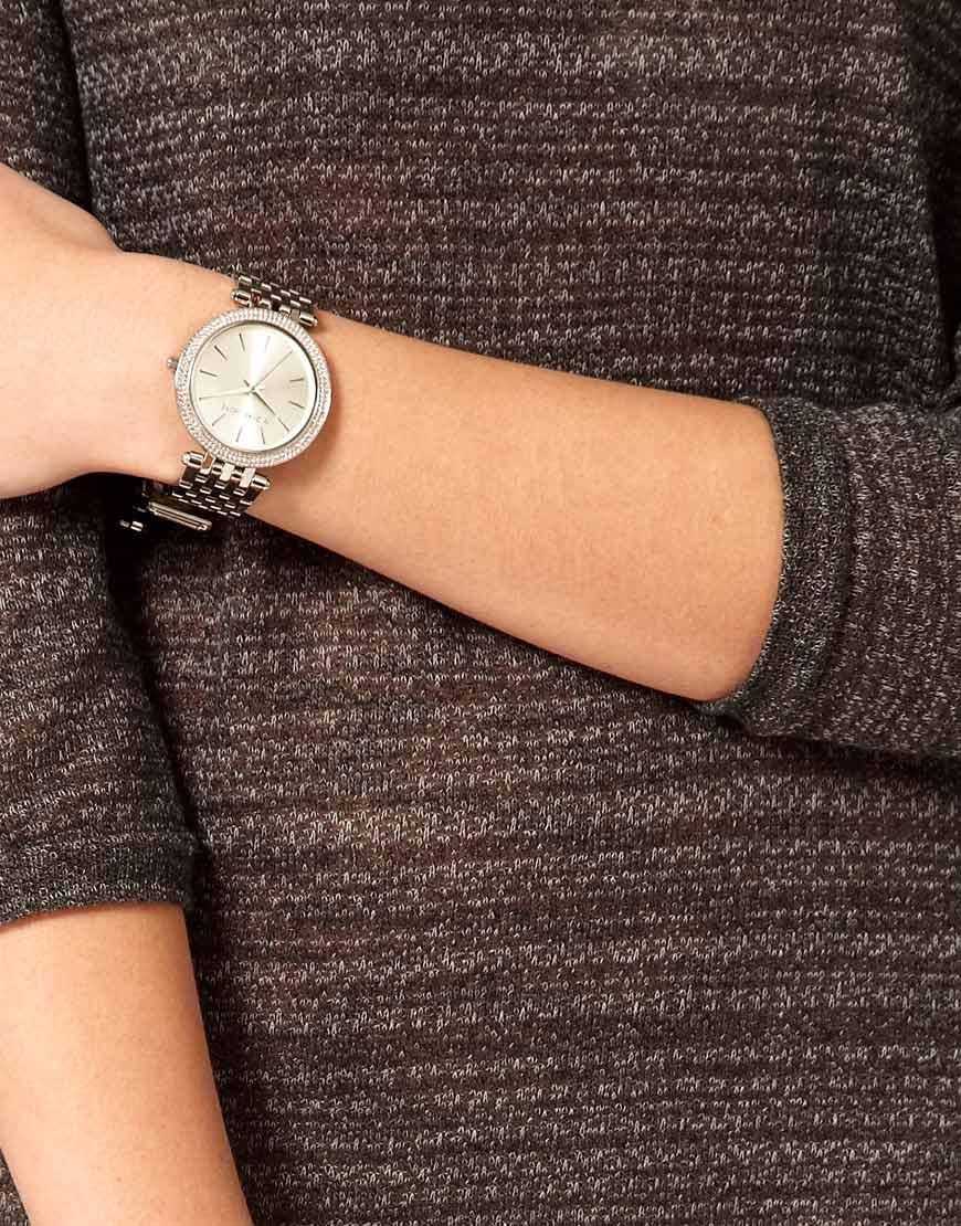 Lyst Michael Kors Darci Silver Watch Mk3190 In Metallic
