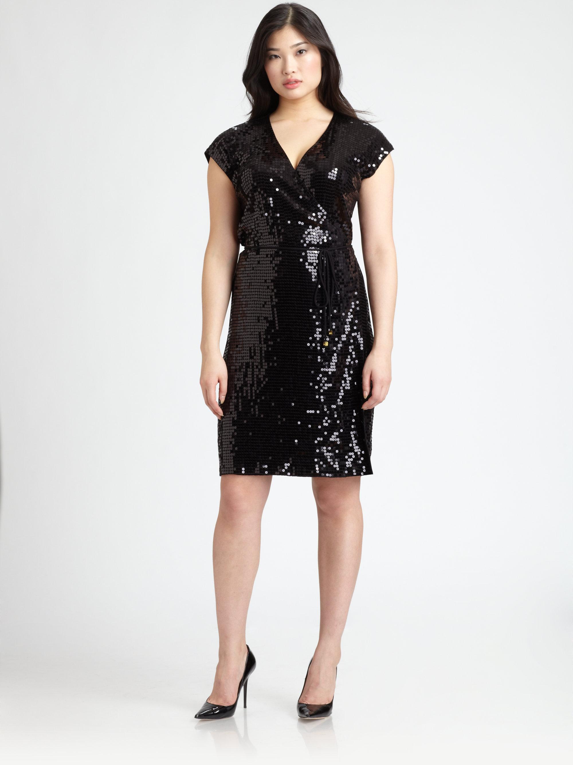 8051908a903 MICHAEL Michael Kors Sequin Wrap Dress in Black - Lyst