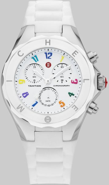 Michele Tahitian Large Jelly Bean Carousel Watchwhite In