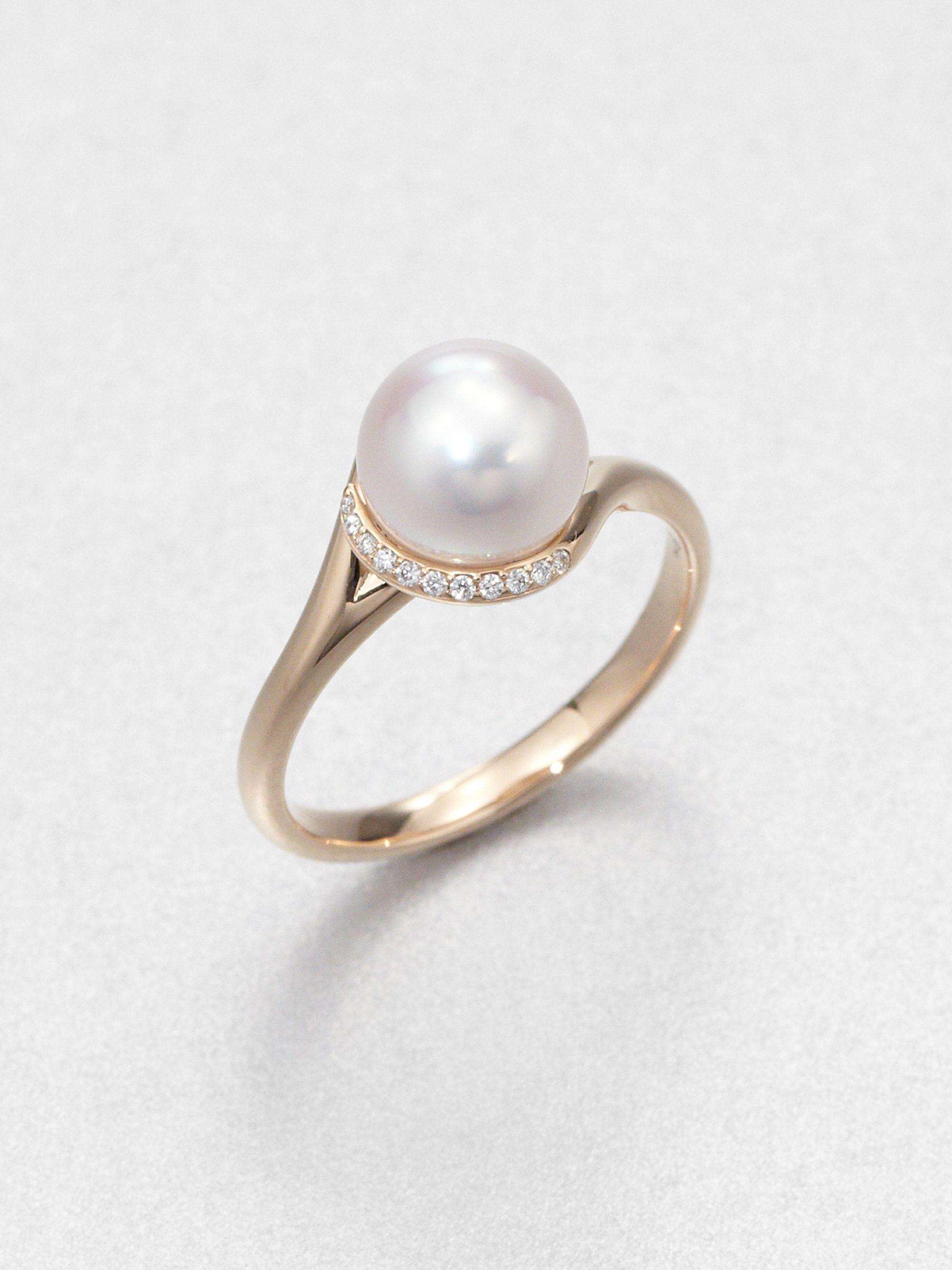 Lyst Mikimoto 8mm White Cultured Akoya Pearl Diamond