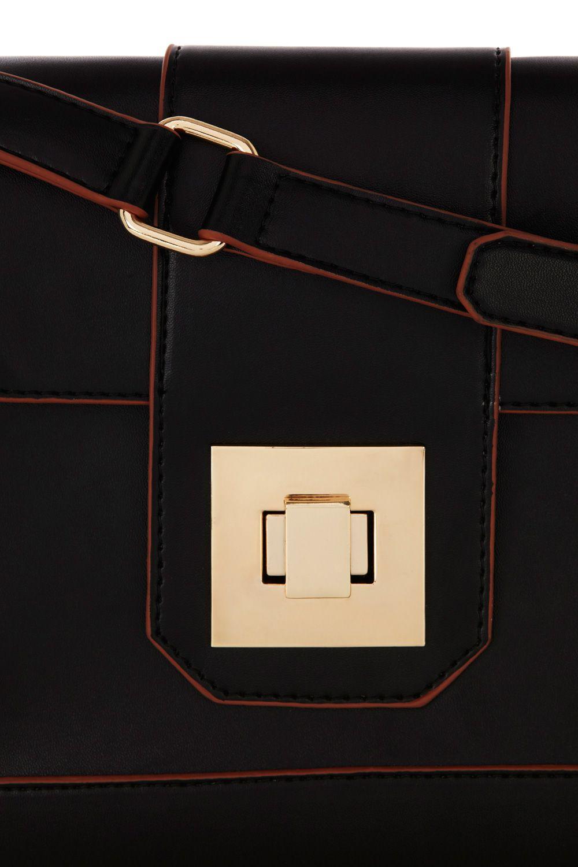 Oasis Square Lock Cross Body Bag in Black