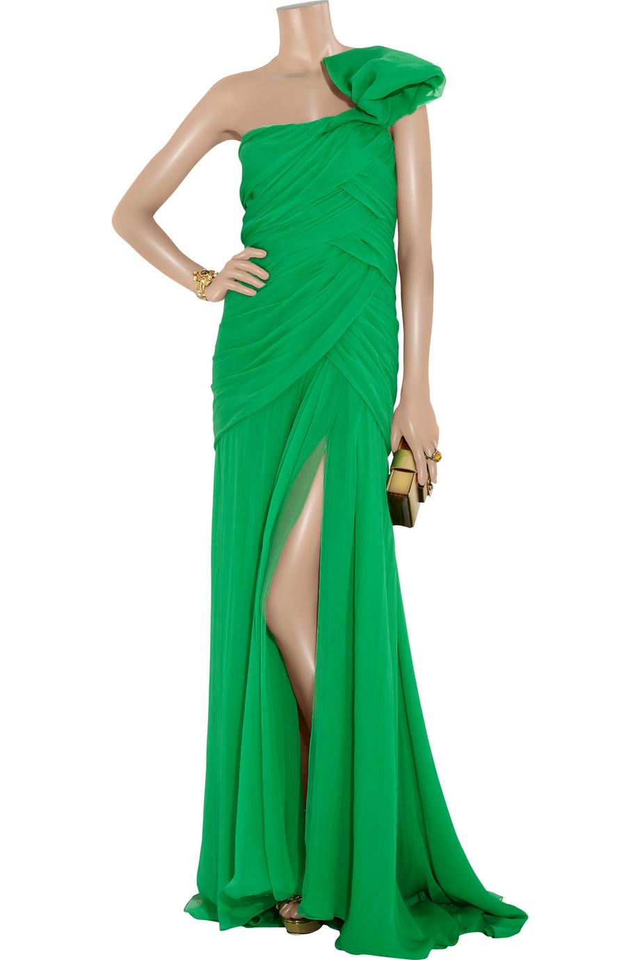 Oscar De La Renta One Shoulder Silk Chiffon Gown In Green