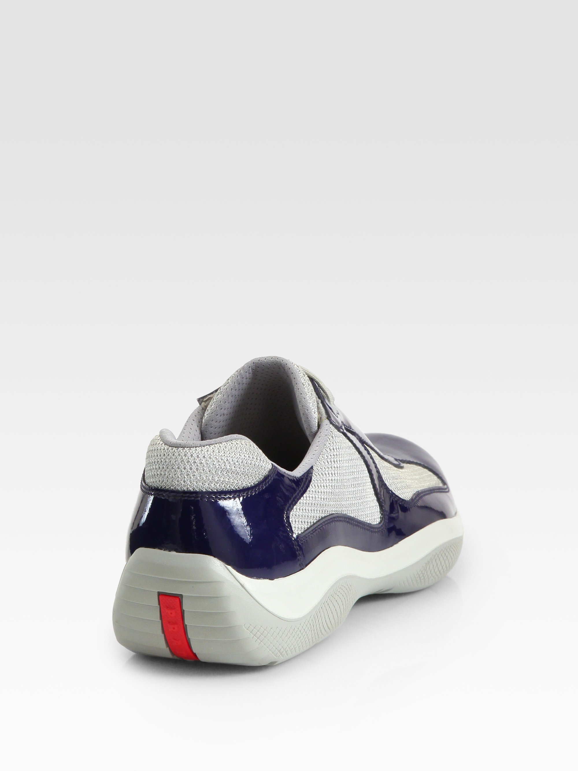 Prada Americas Cup Patent Leather Sneakers In Blue For Men