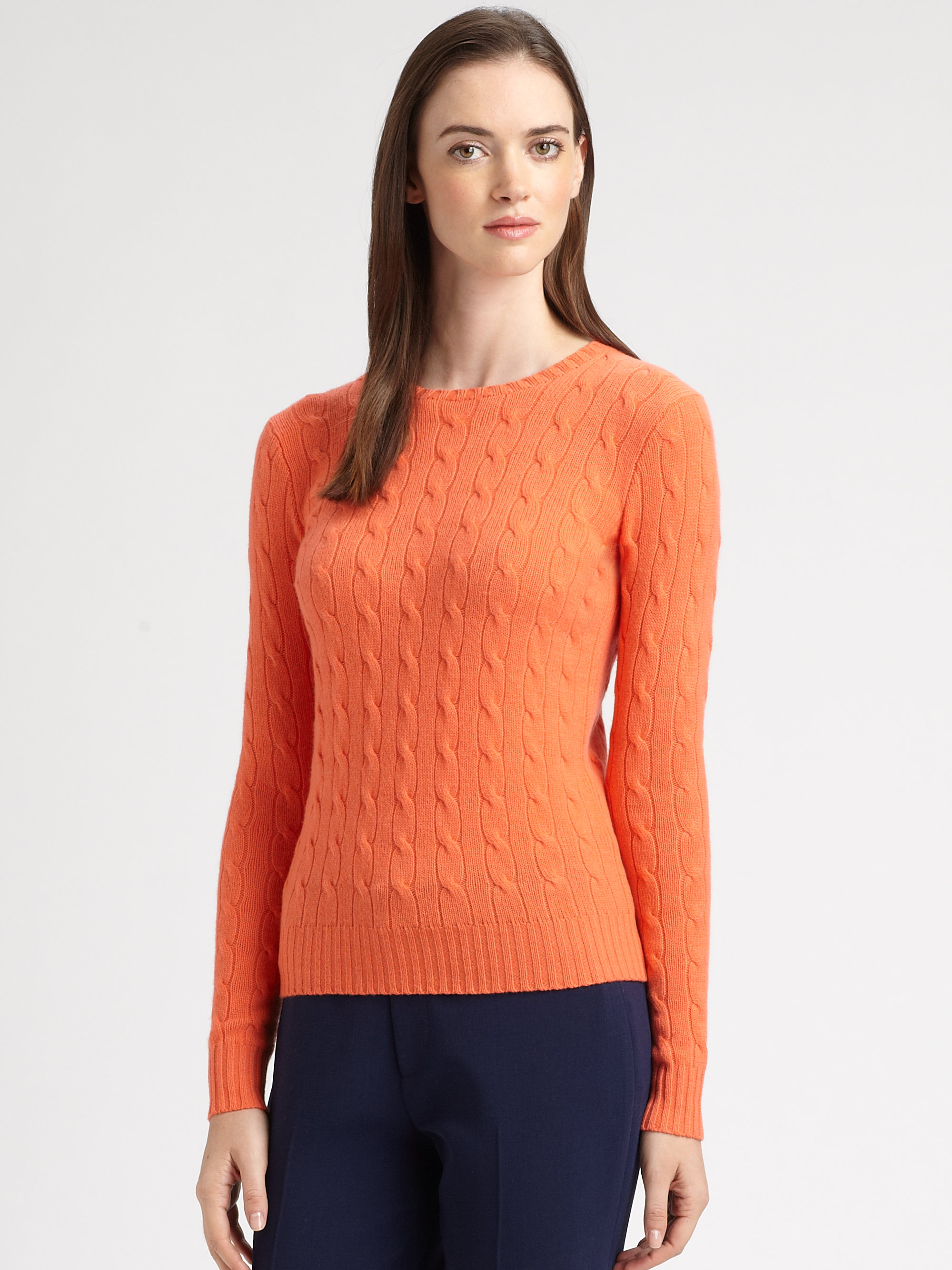 Ralph lauren black label Cashmere Cableknit Crewneck Sweater in ...