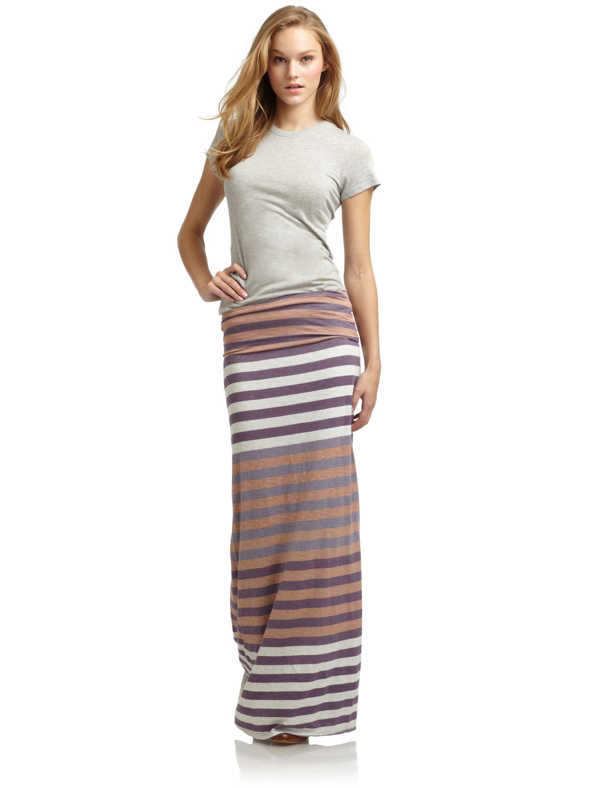 splendid striped maxi skirt in brown purple lyst