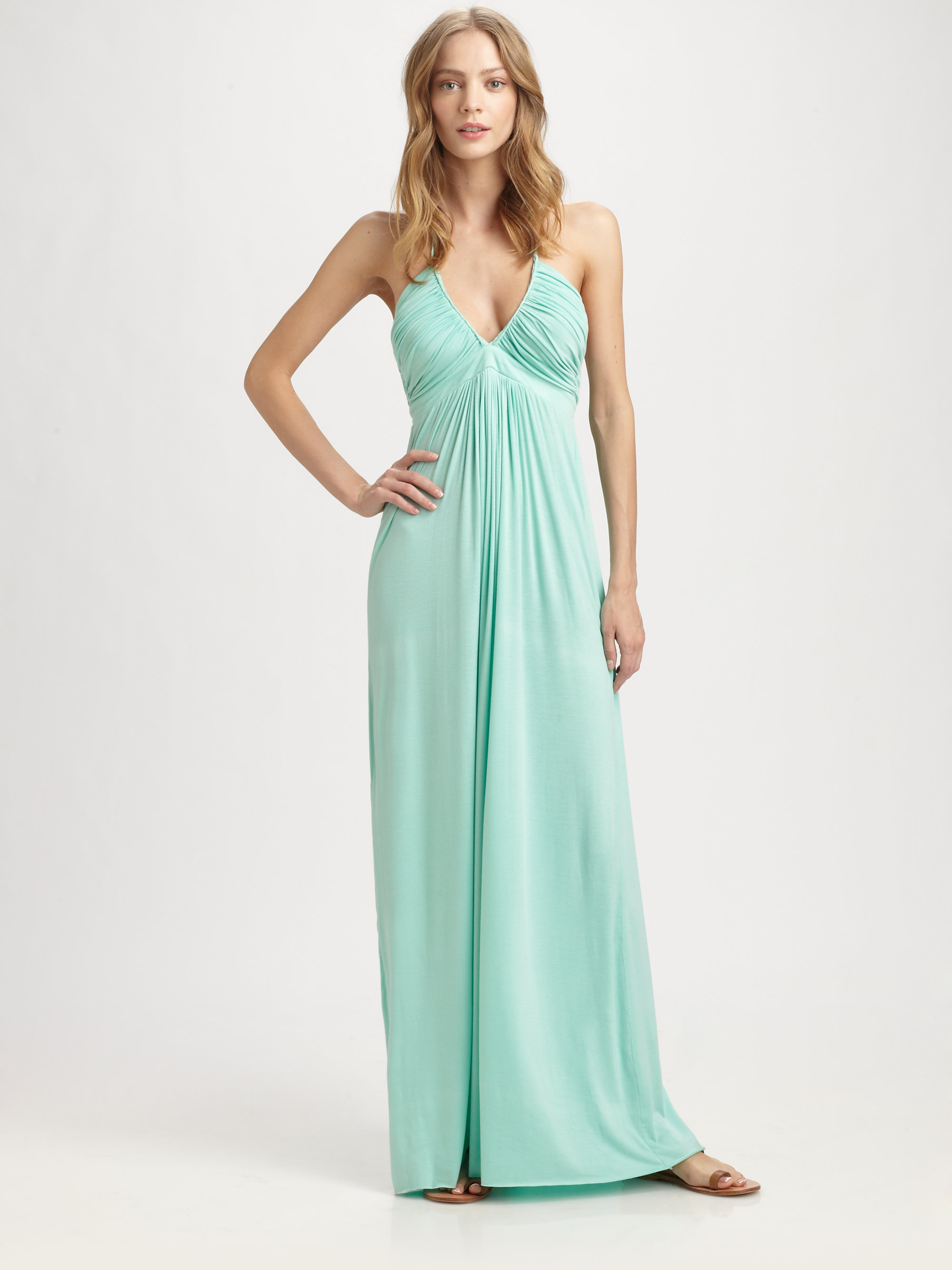 Lyst - T-Bags Ruched Halter Maxi Dress in Green