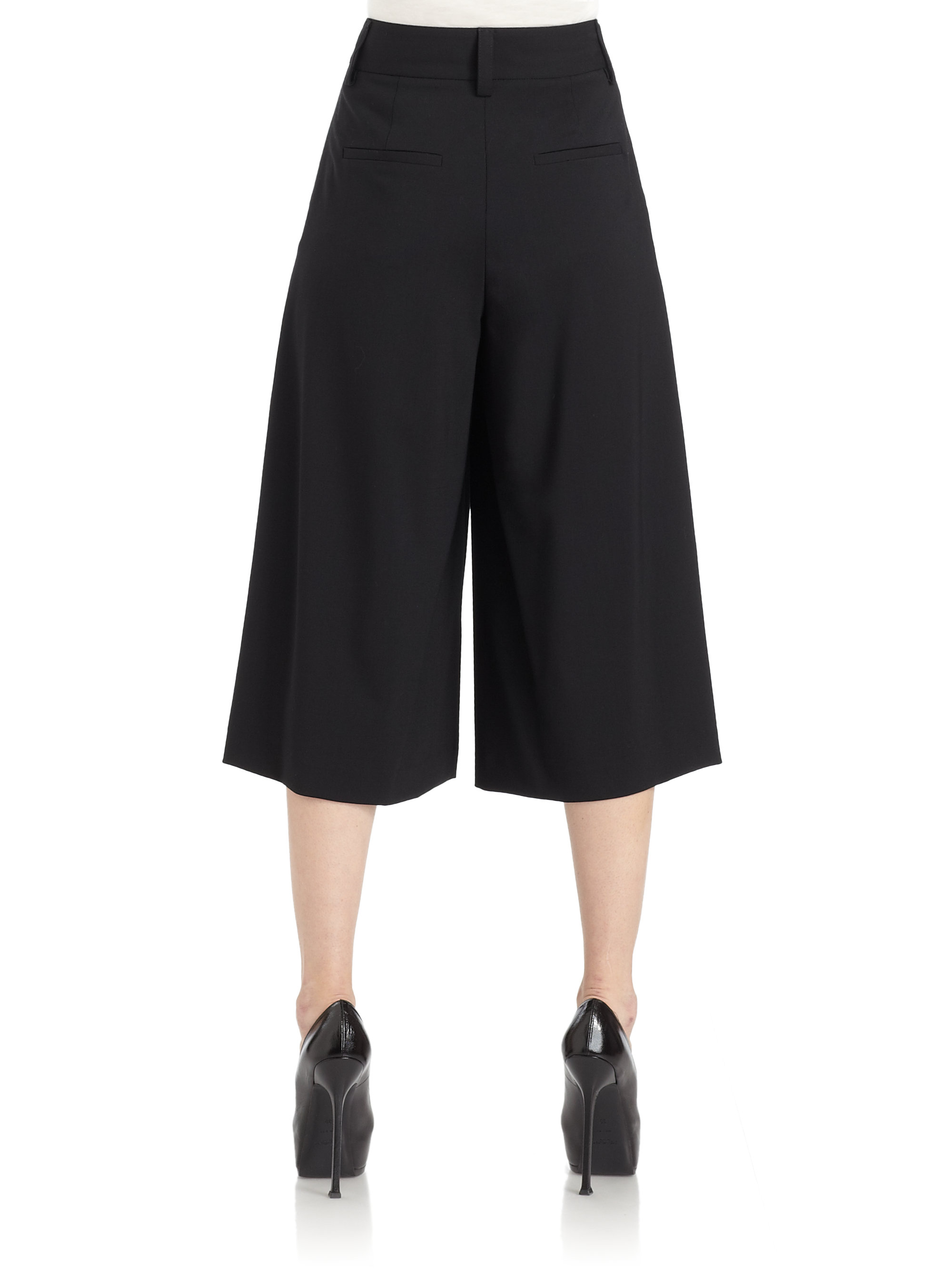 Alice   olivia Highwaist Gaucho Pants in Black | Lyst