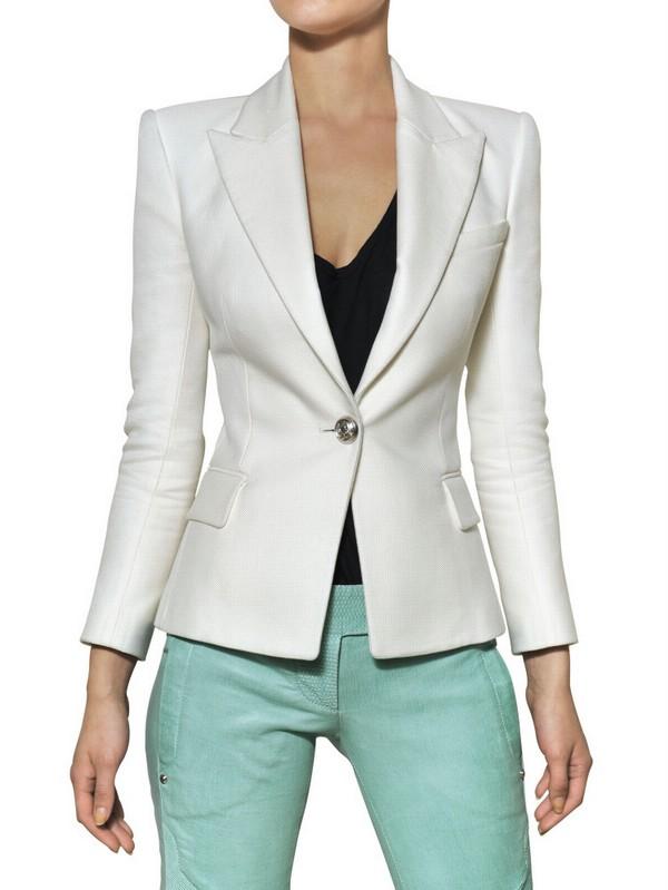 5d9aeff3 Balmain Cotton and Silk Piqué Jacket in White - Lyst