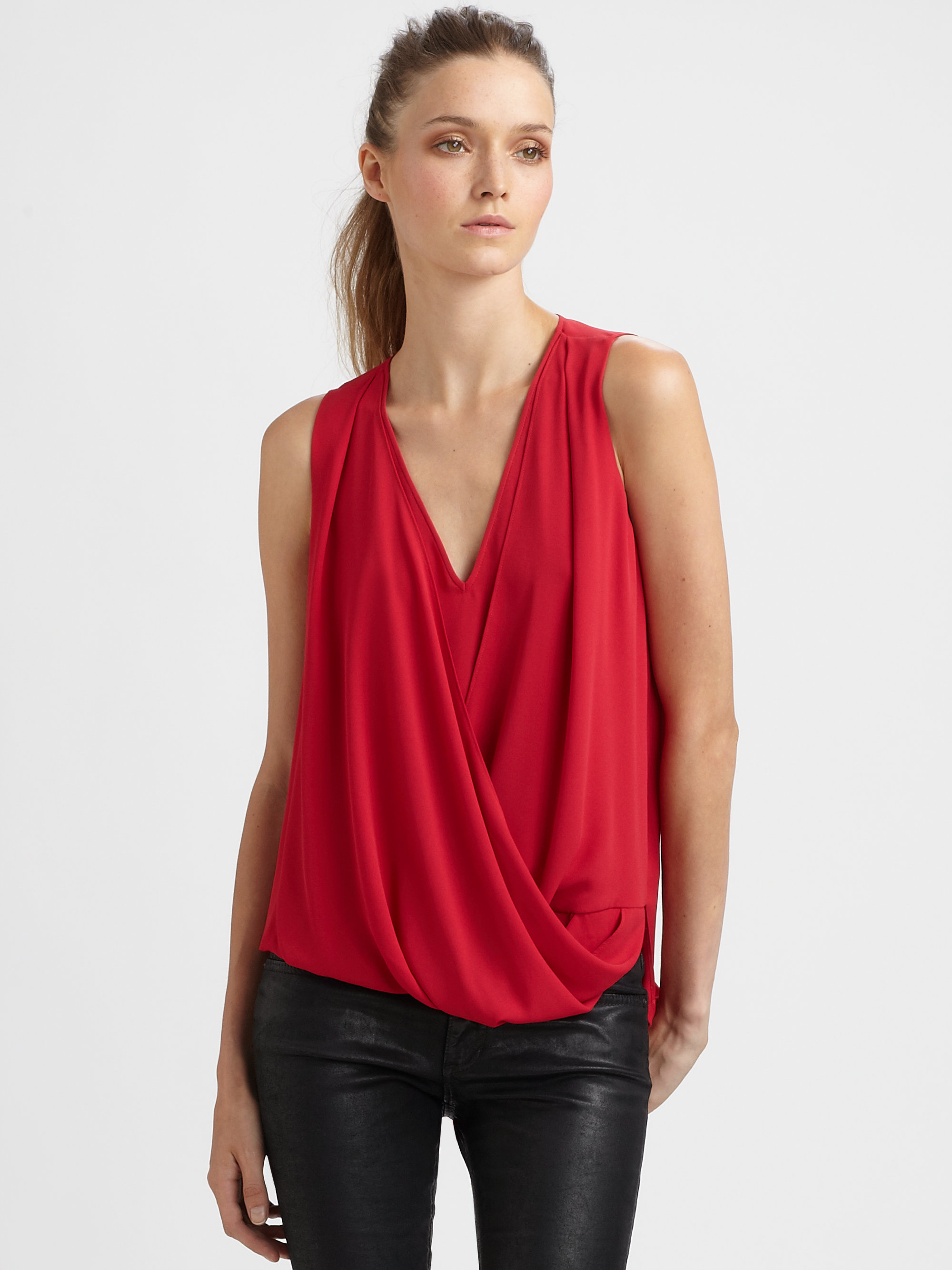 lyst bcbgmaxazria hilo crossover top in red. Black Bedroom Furniture Sets. Home Design Ideas