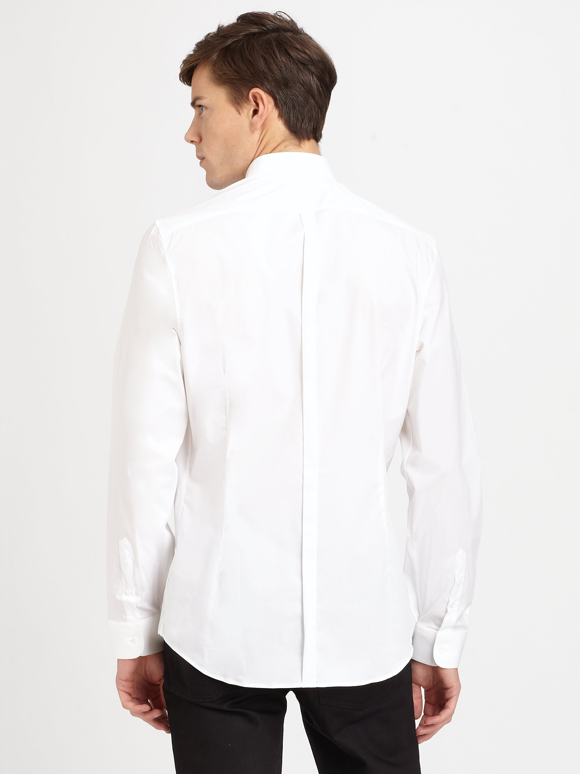 Burberry cotton button down shirt in white for men lyst for Cotton button down shirts men
