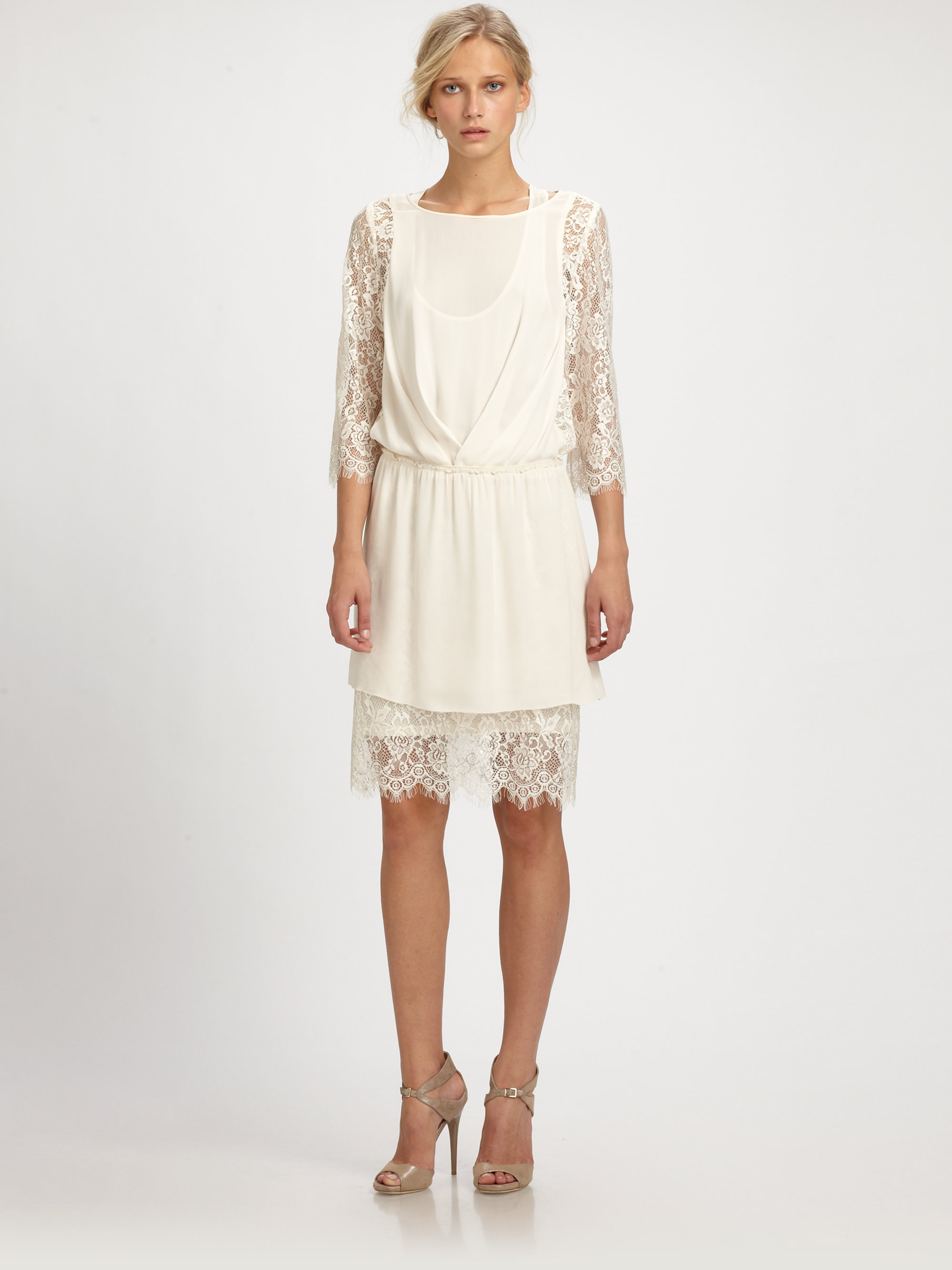 ddcc2a8296a28 Lyst - By Malene Birger Silk Lace Dress in White