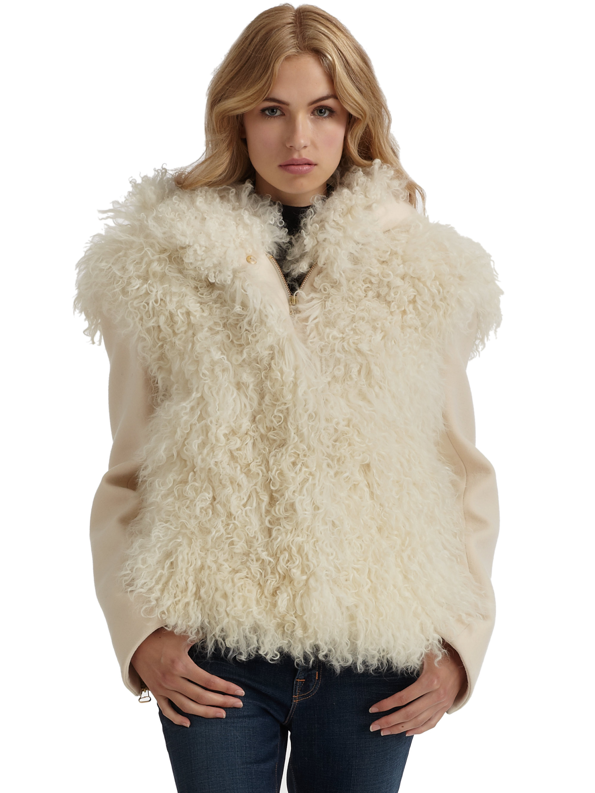 Cacharel Sheep Fur Jacket in Natural | Lyst