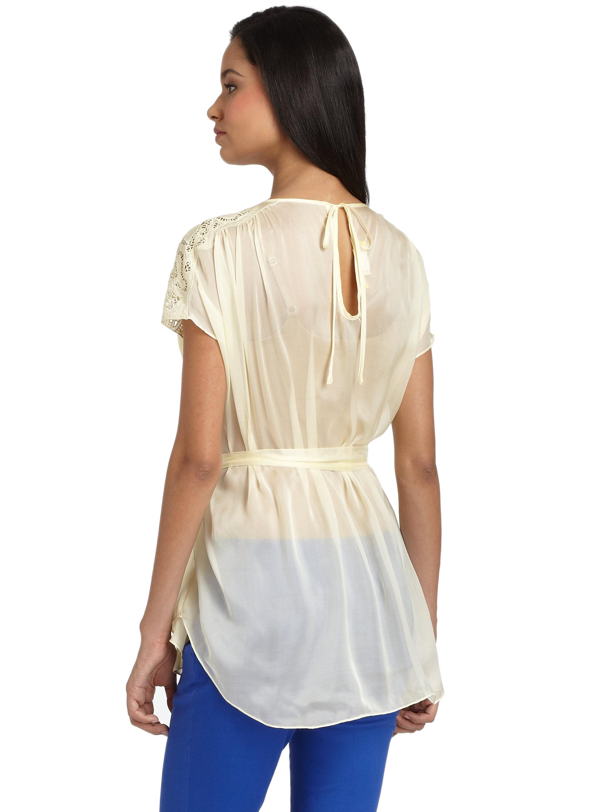 White Sheer Silk Blouse 86