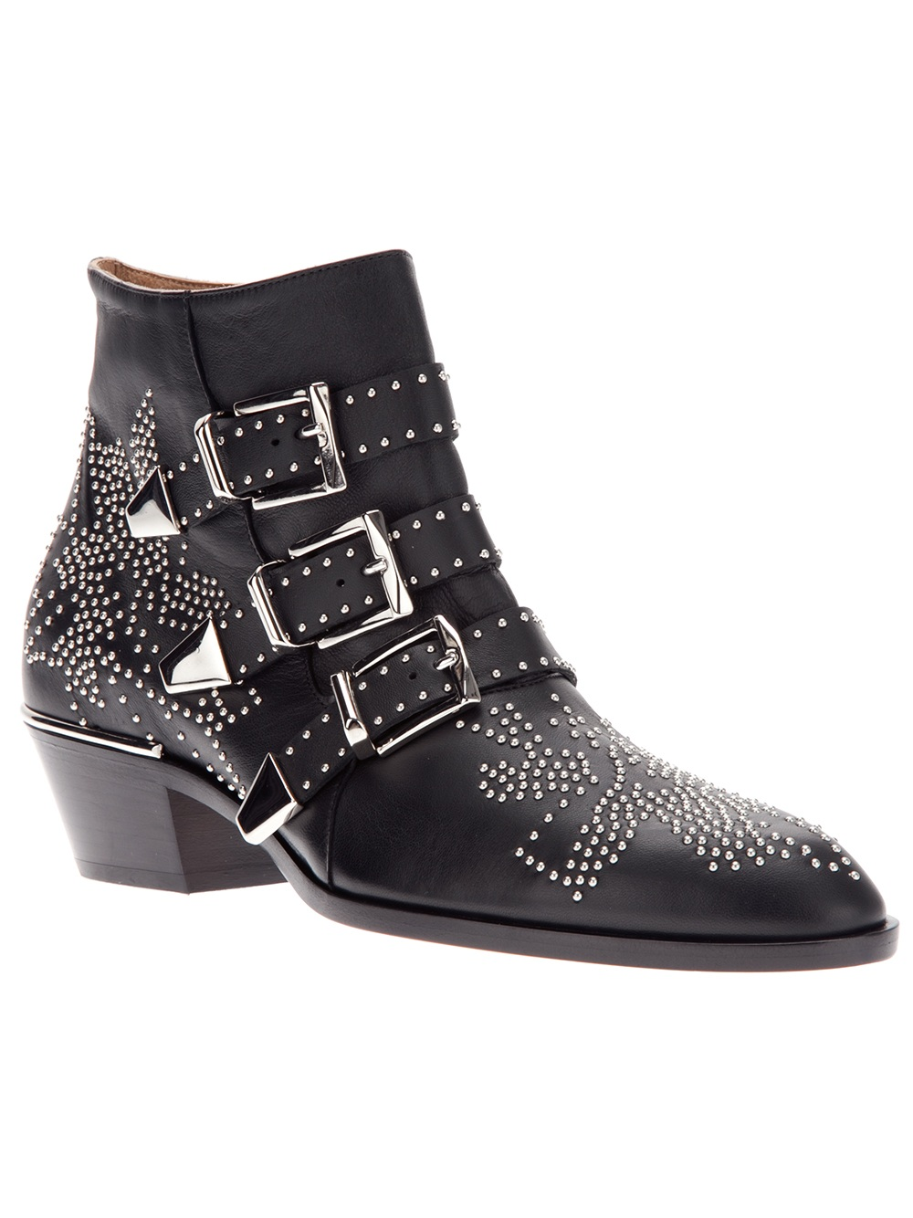 chlo 233 studded ankle boot in black lyst