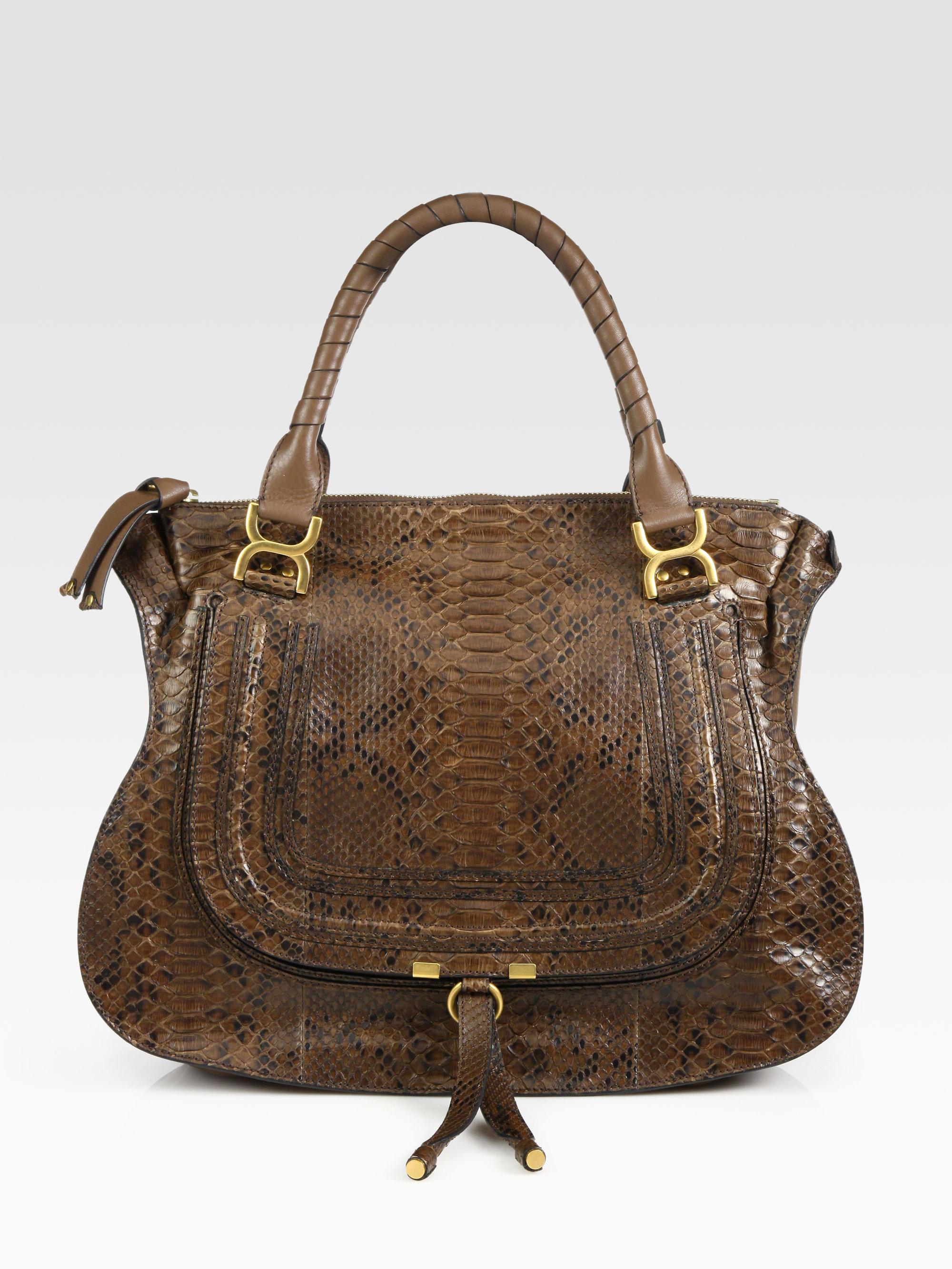 Chlo¨¦ Marcie Large Python Shoulder Bag in Brown | Lyst