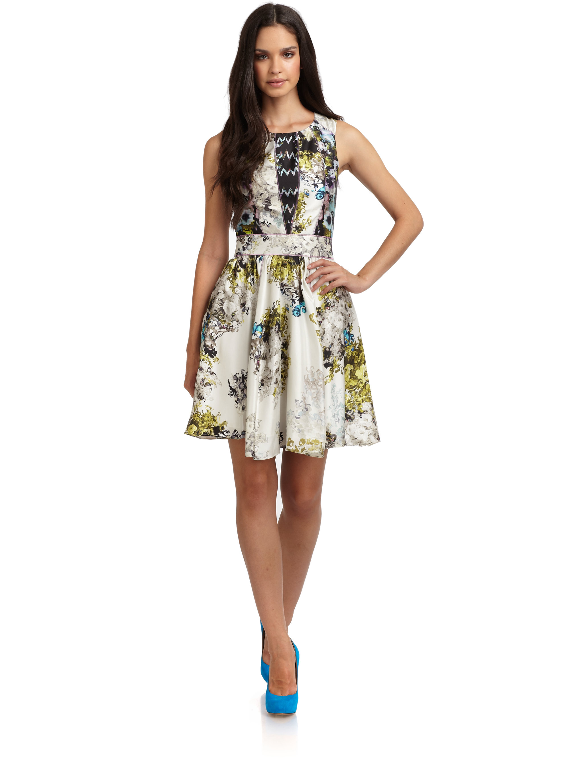 Lyst - Cynthia Rowley Silk Satin Abstract Floral Dress 603d3aec0