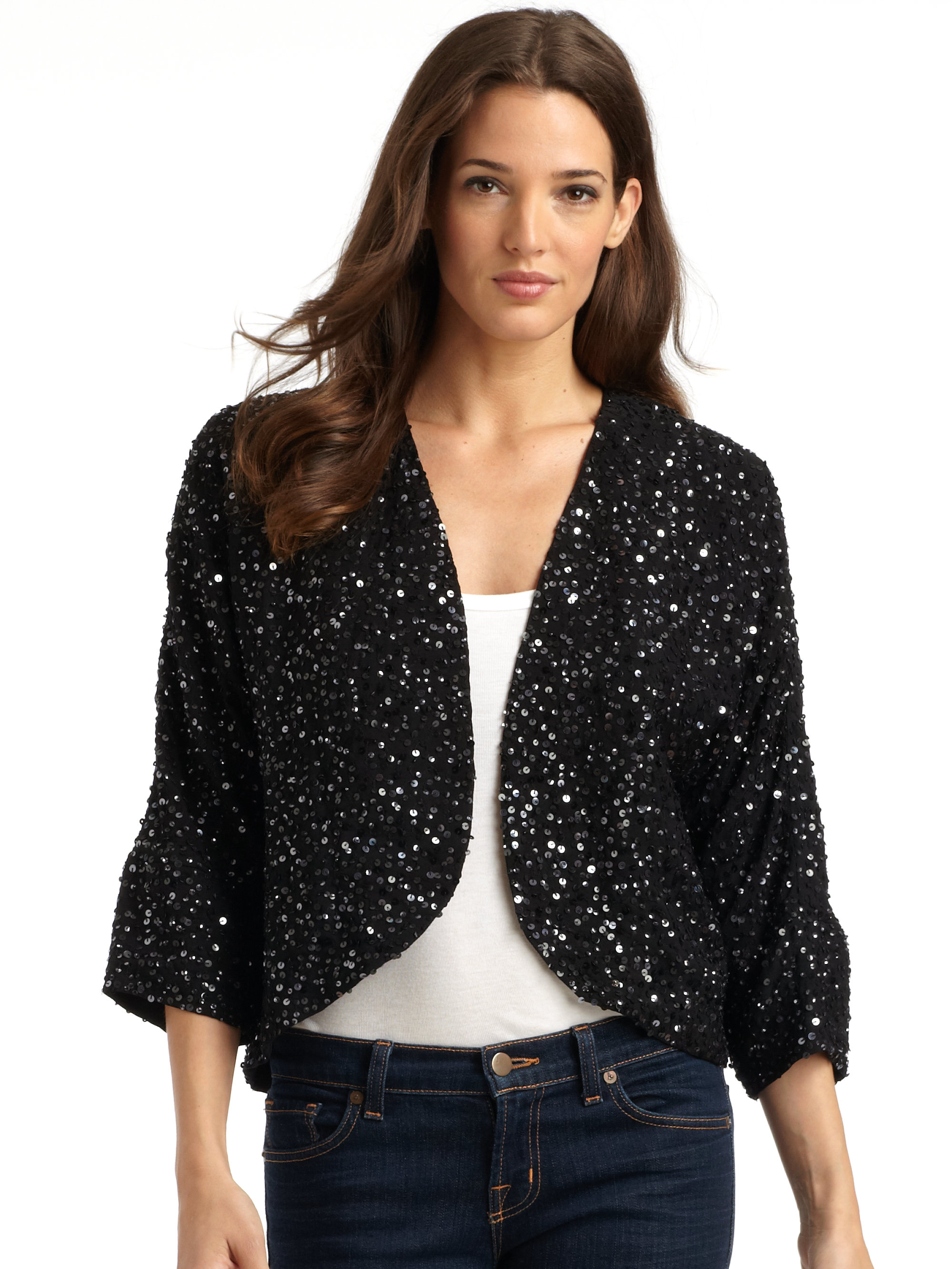 Eileen fisher Silk Sequin Kimono Jacket in Black | Lyst