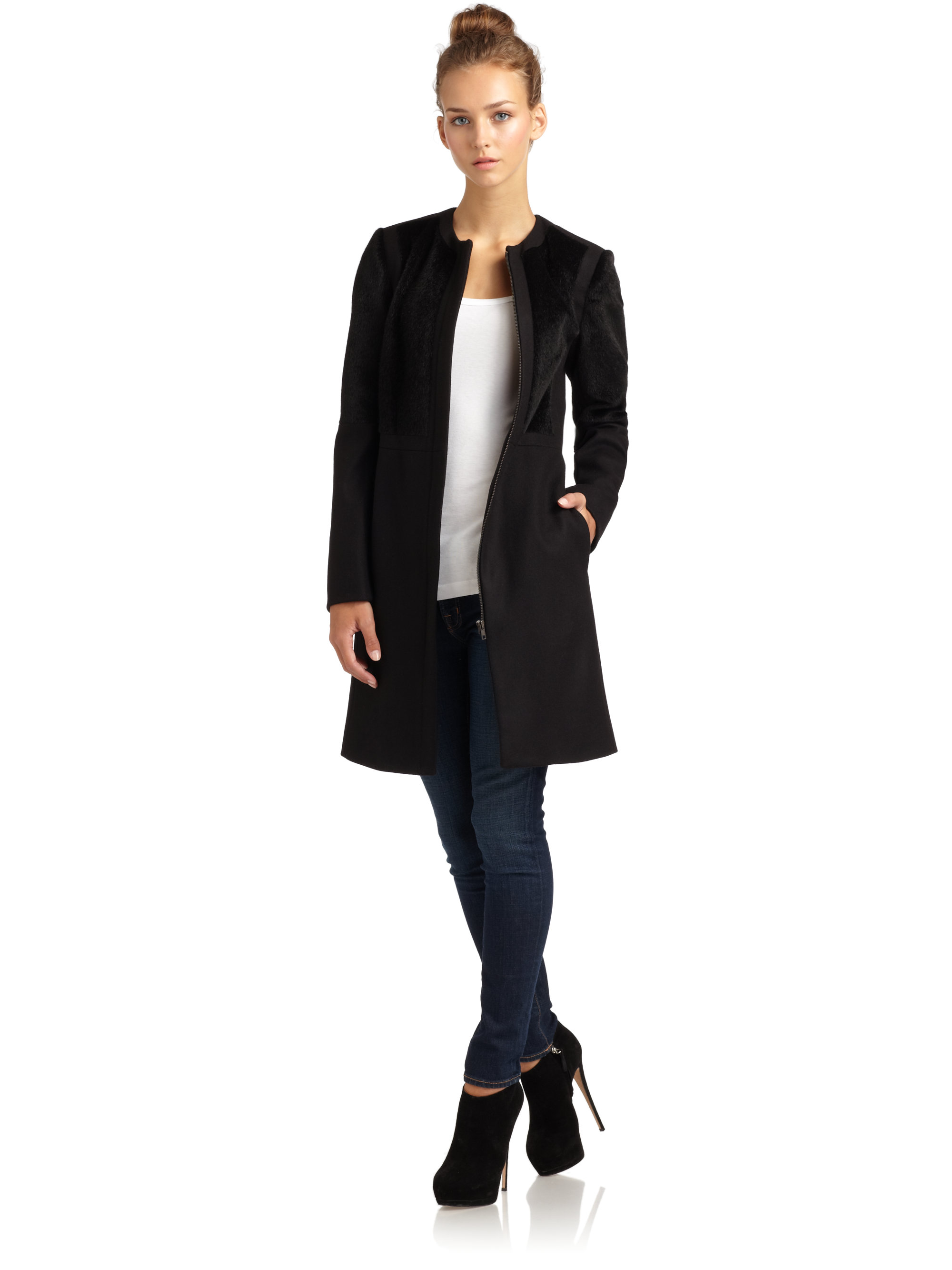 french connection smooth groove faux fur zip coat in black lyst #2: french connection black smooth groove faux fur zip coat product 1