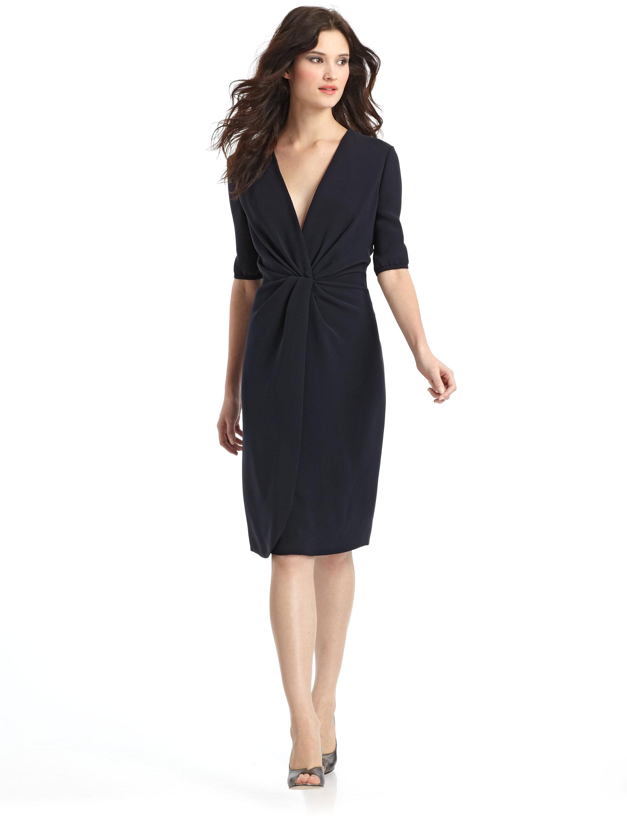 Giorgio armani Deep V Silk Dress in Black - Lyst