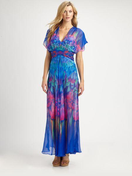 Gottex Silk Beach Dress in Multicolor (blue)