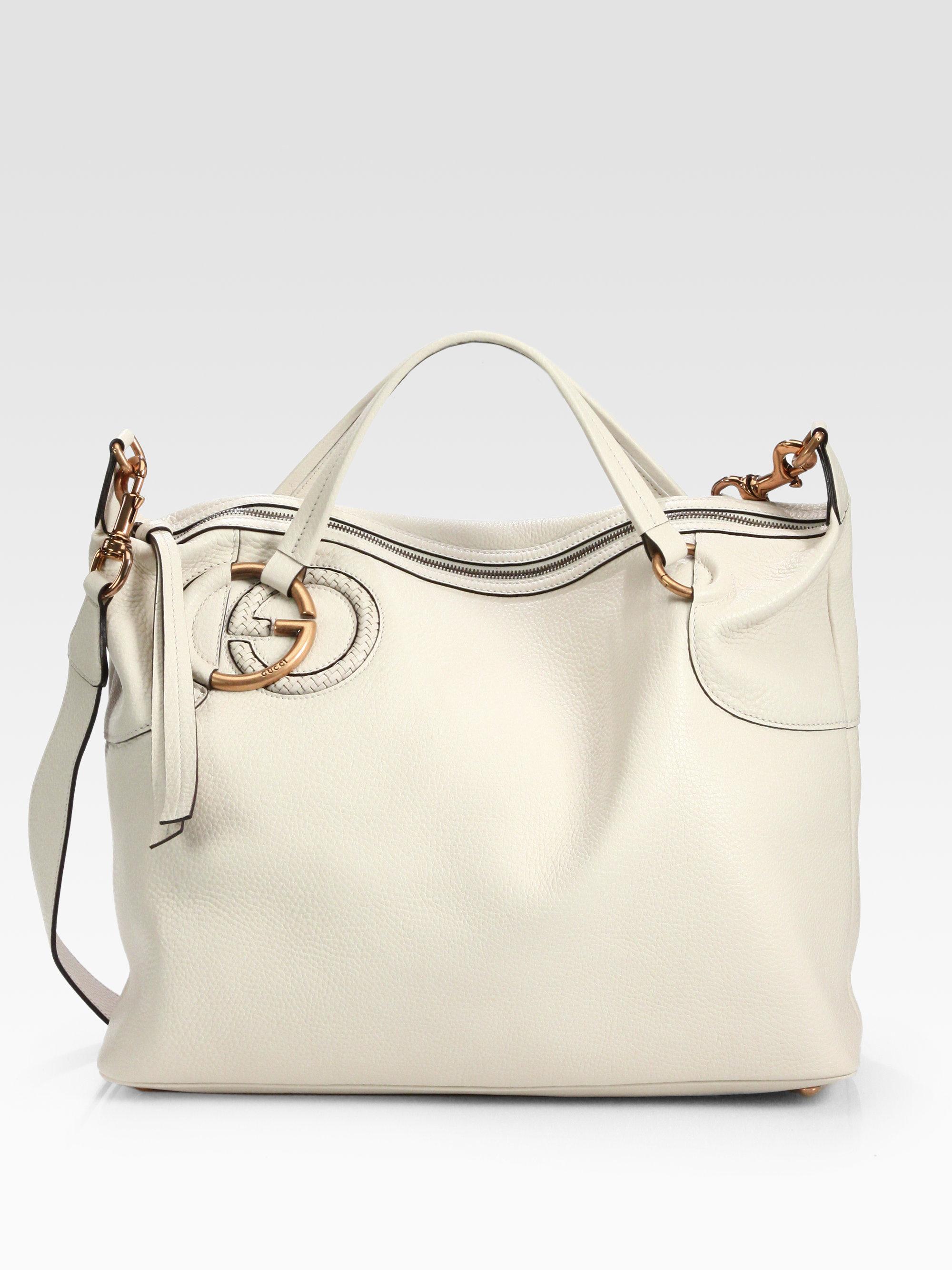 bb02da526c8 Lyst - Gucci Twill Leather Top Handle Bag in White