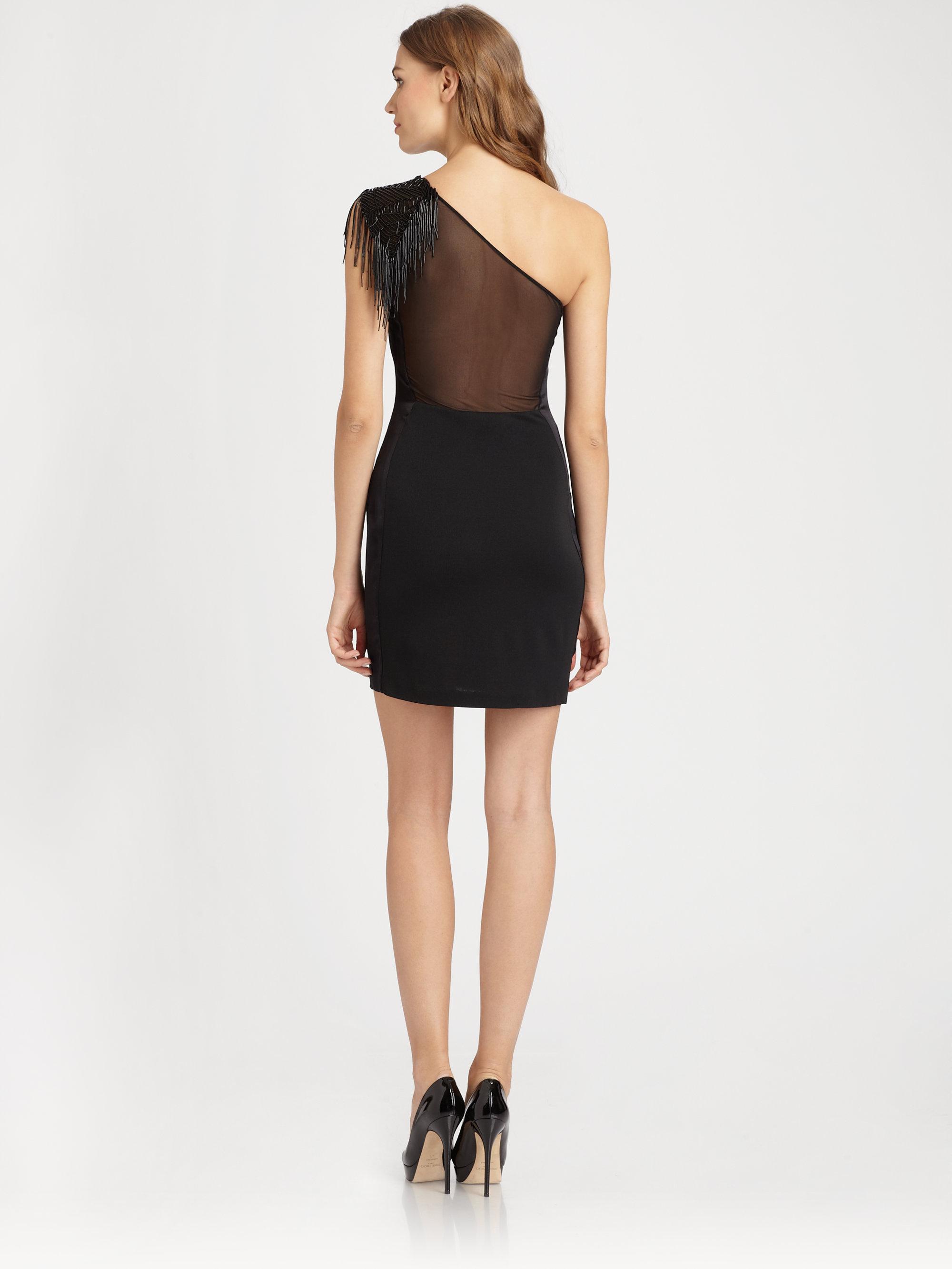 Lyst Halston Asymmetrical Dress In Black