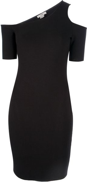 Helmut Asymmetric Dress in Black