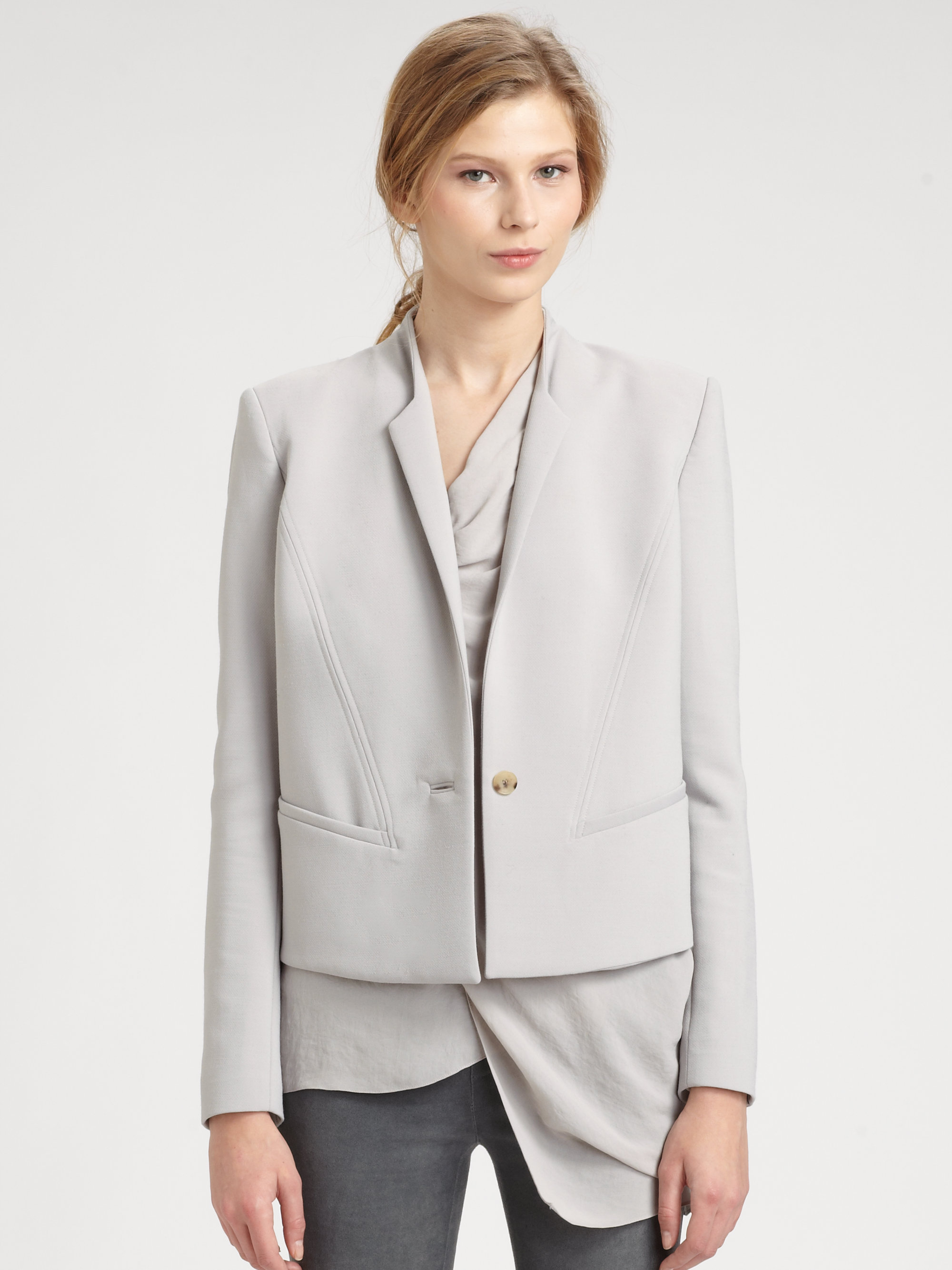 Helmut lang Form Cropped Blazer in Gray | Lyst